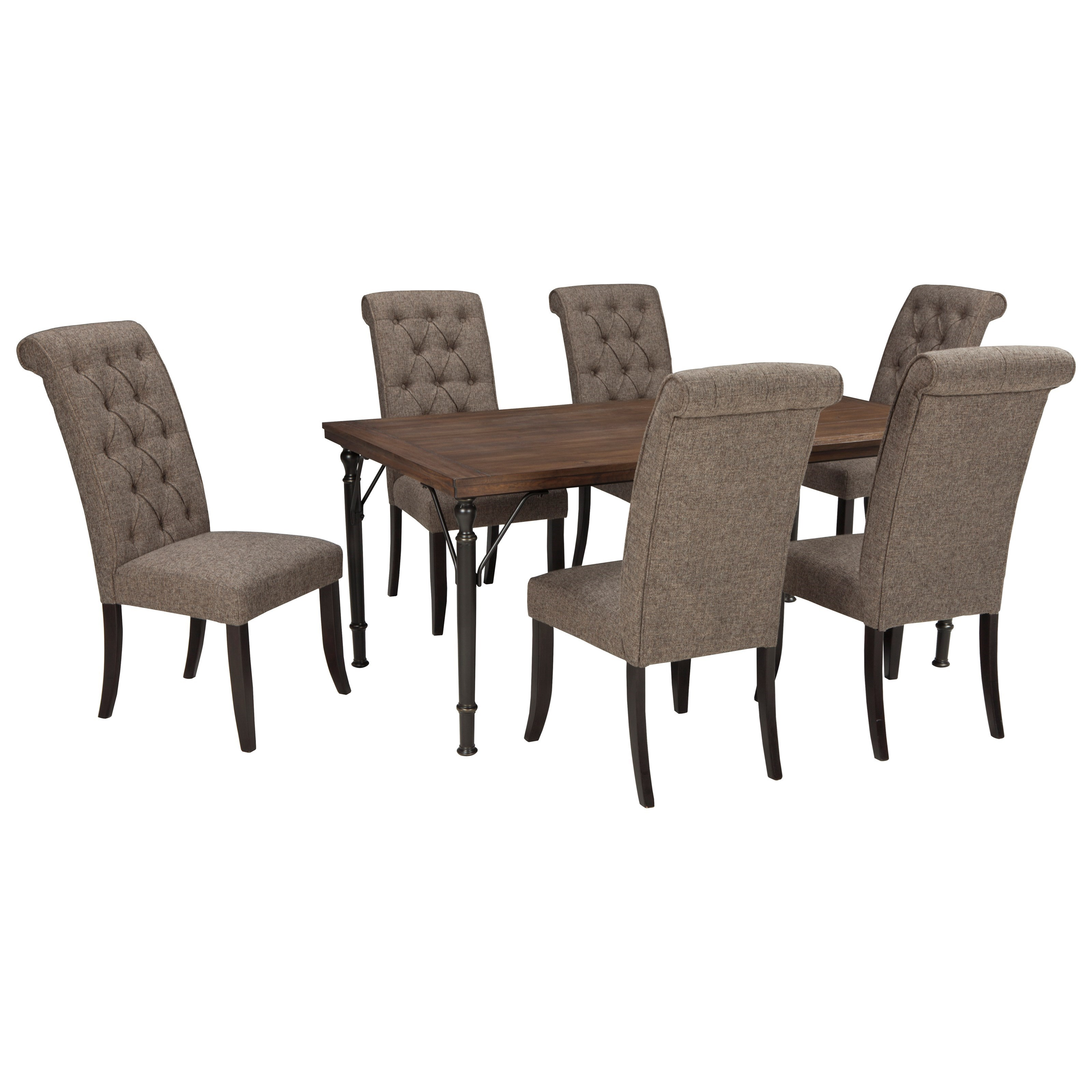 signature design by ashley tripton 7 piece rectangular dining room table set w wood top metal. Black Bedroom Furniture Sets. Home Design Ideas