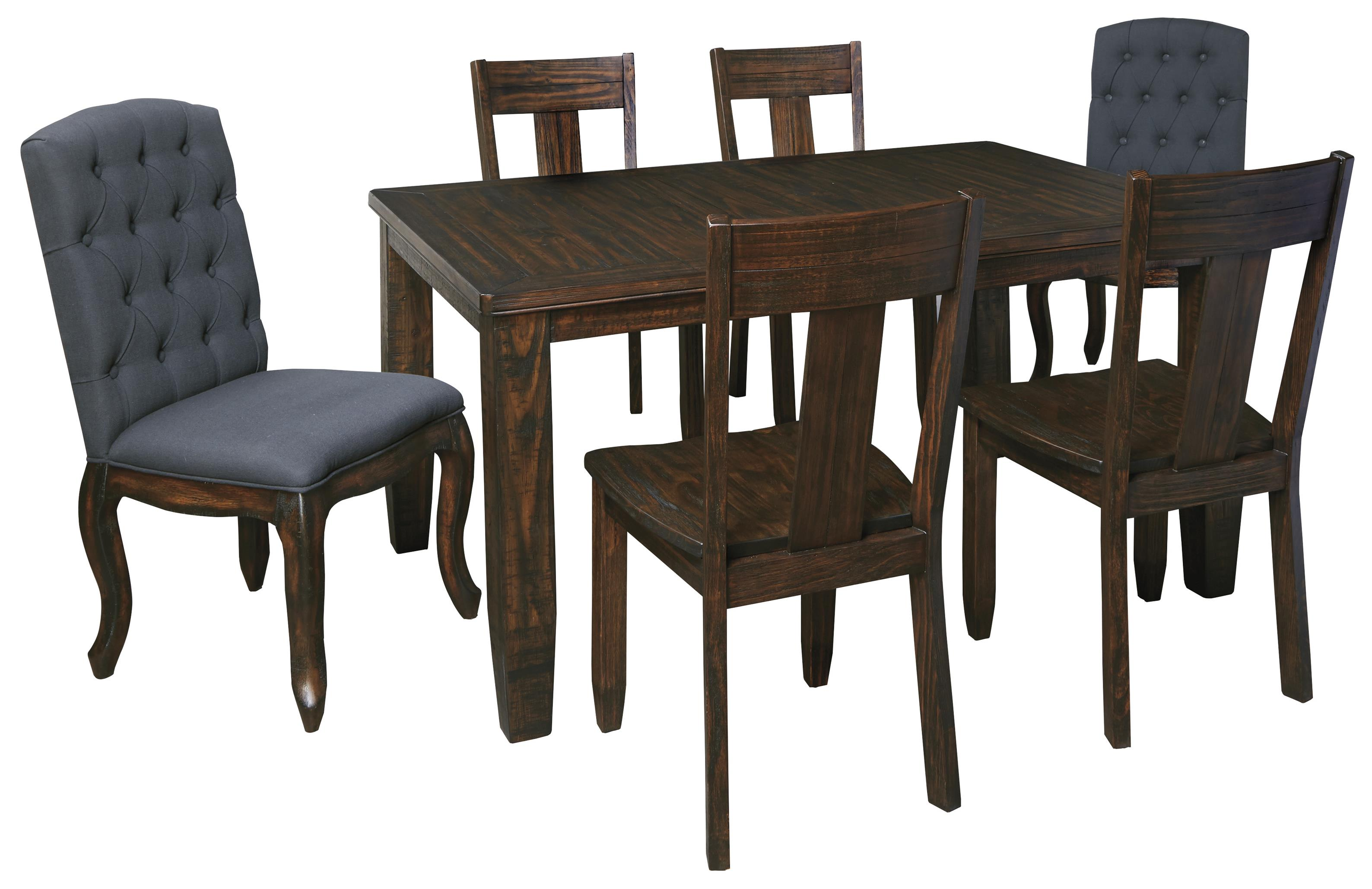 Signature design by ashley trudell 7 piece rectangular for 7 piece dining set with bench