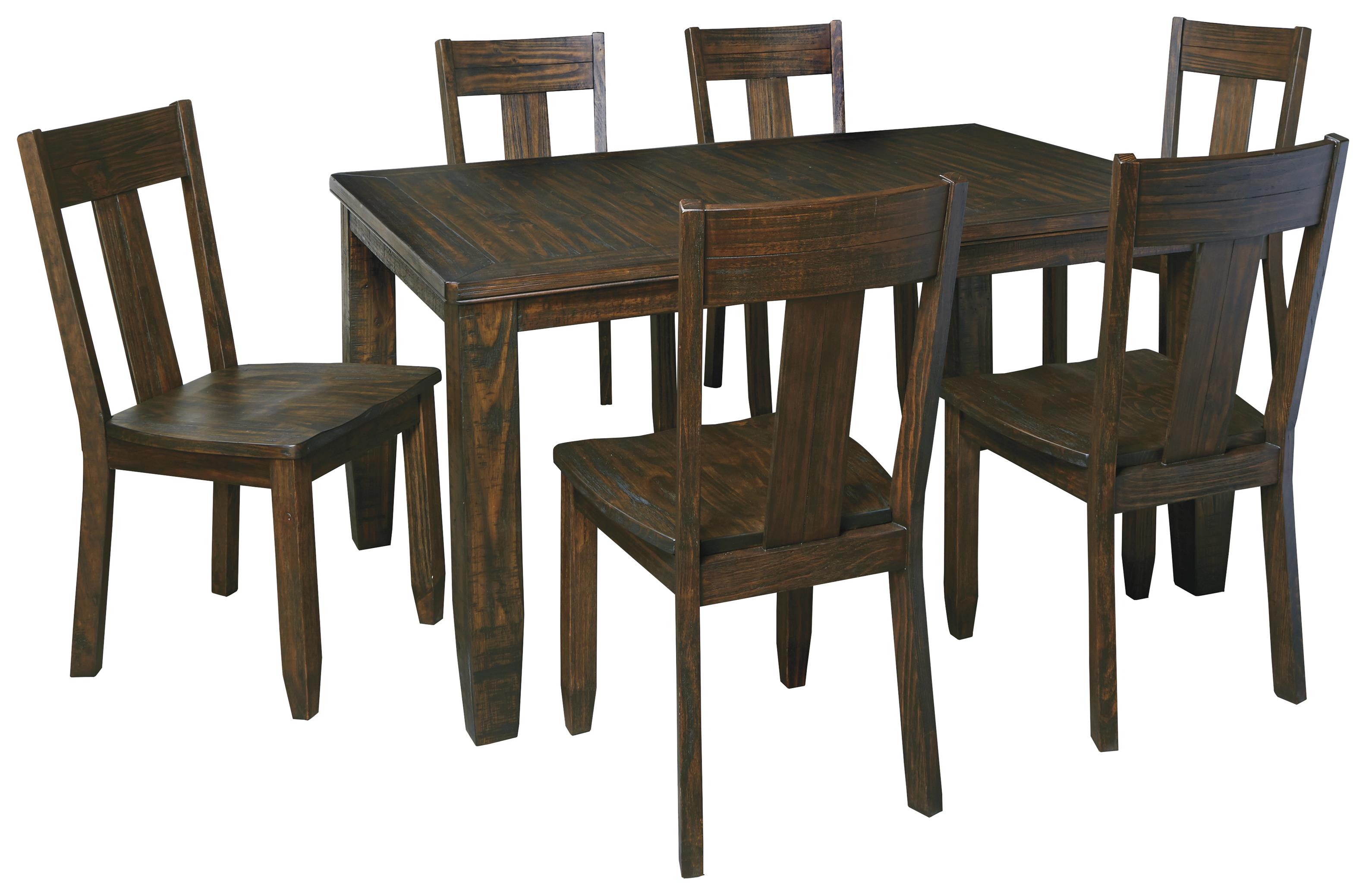 Ashley Signature Design Trudell 7 Piece Rectangular Dining Table Set With Wood Seat Chairs