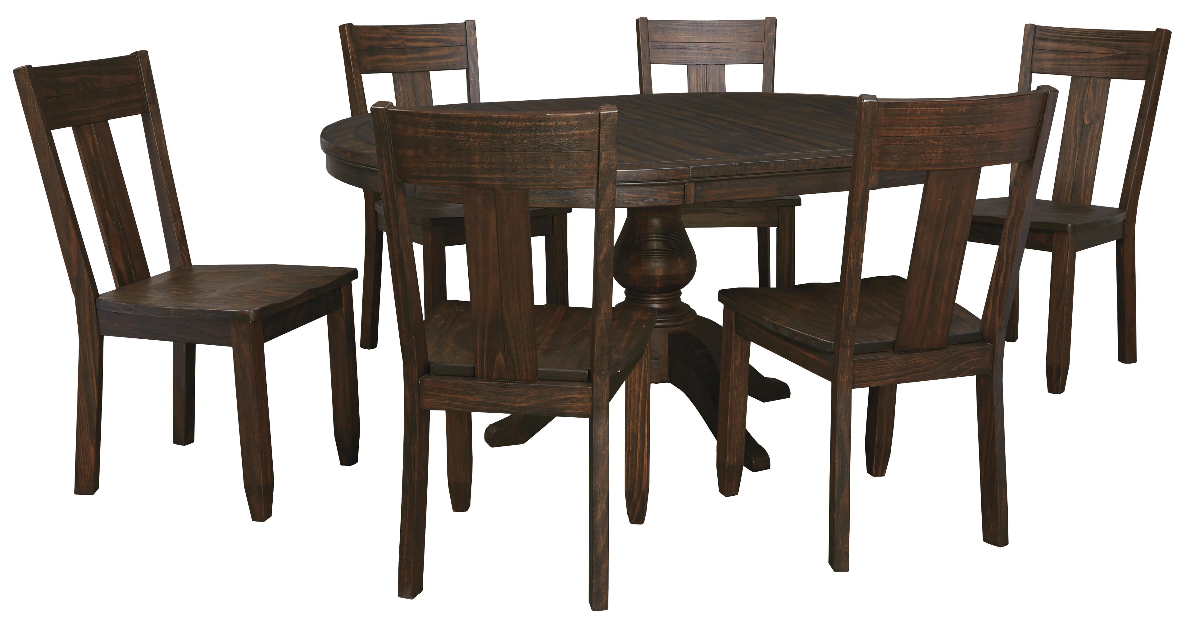 signature design by ashley trudell 7 piece oval dining table set with wood seat side chairs. Black Bedroom Furniture Sets. Home Design Ideas