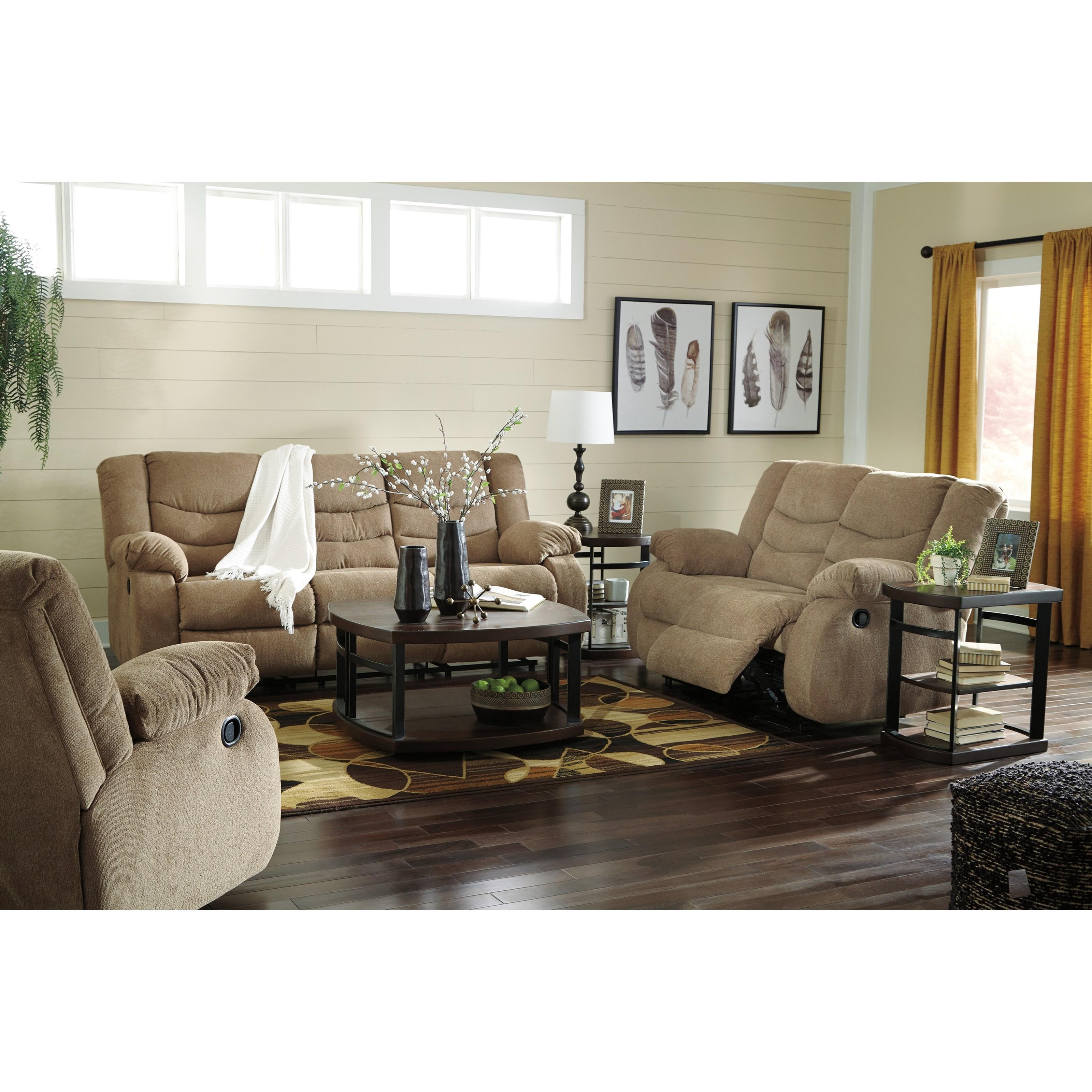 Signature design by ashley tulen 9860488 contemporary Living room furniture reclining sofa