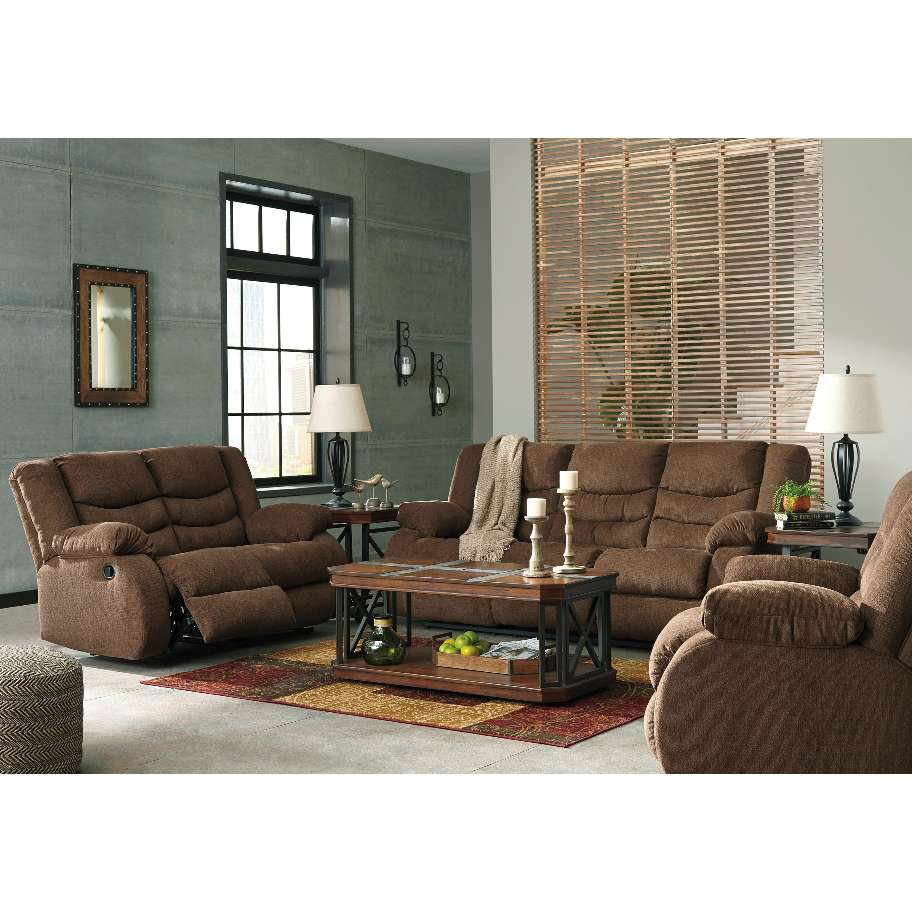 Signature design by ashley tulen reclining living room for Living room furniture groups