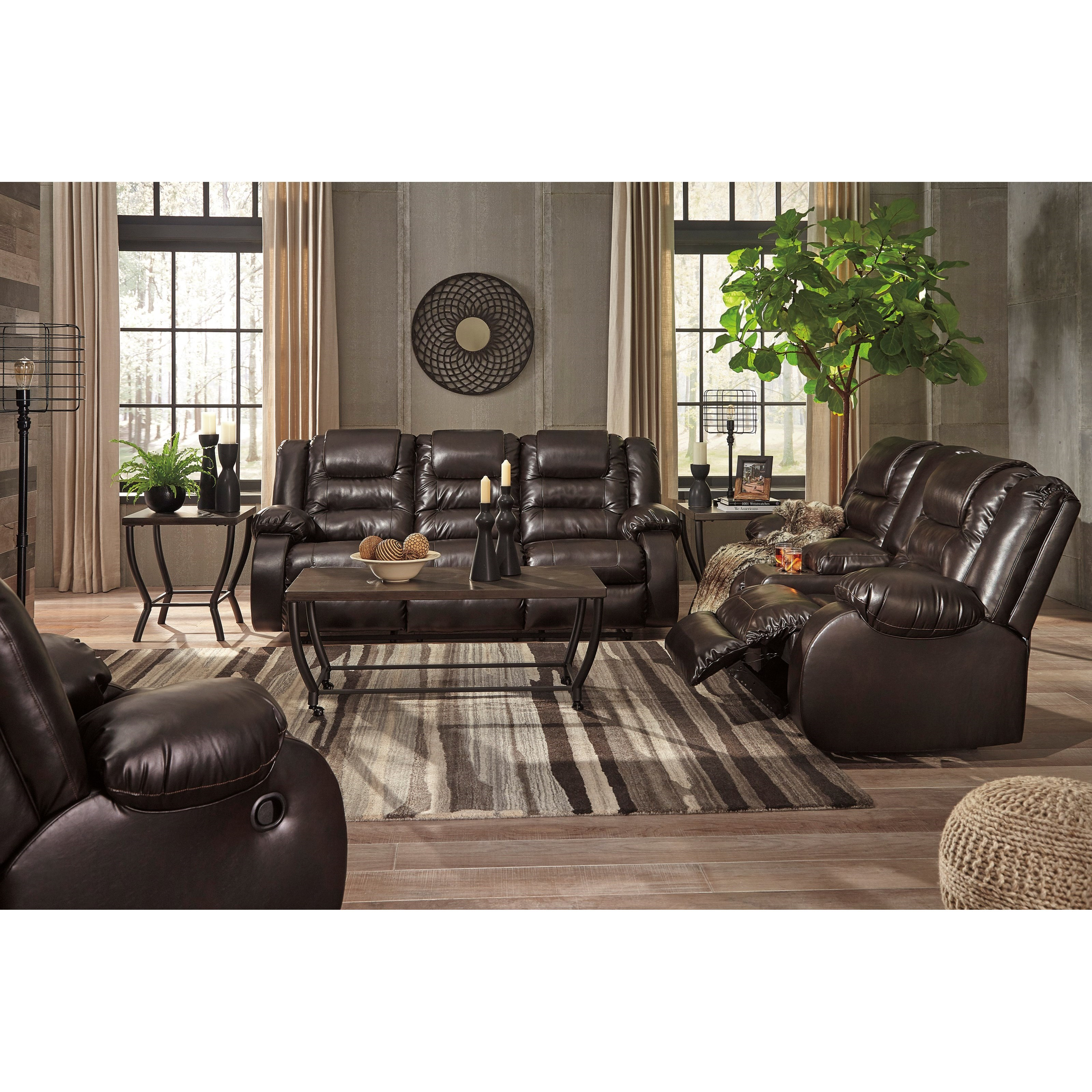 Signature design by ashley vacherie reclining living room for Living room furniture groups
