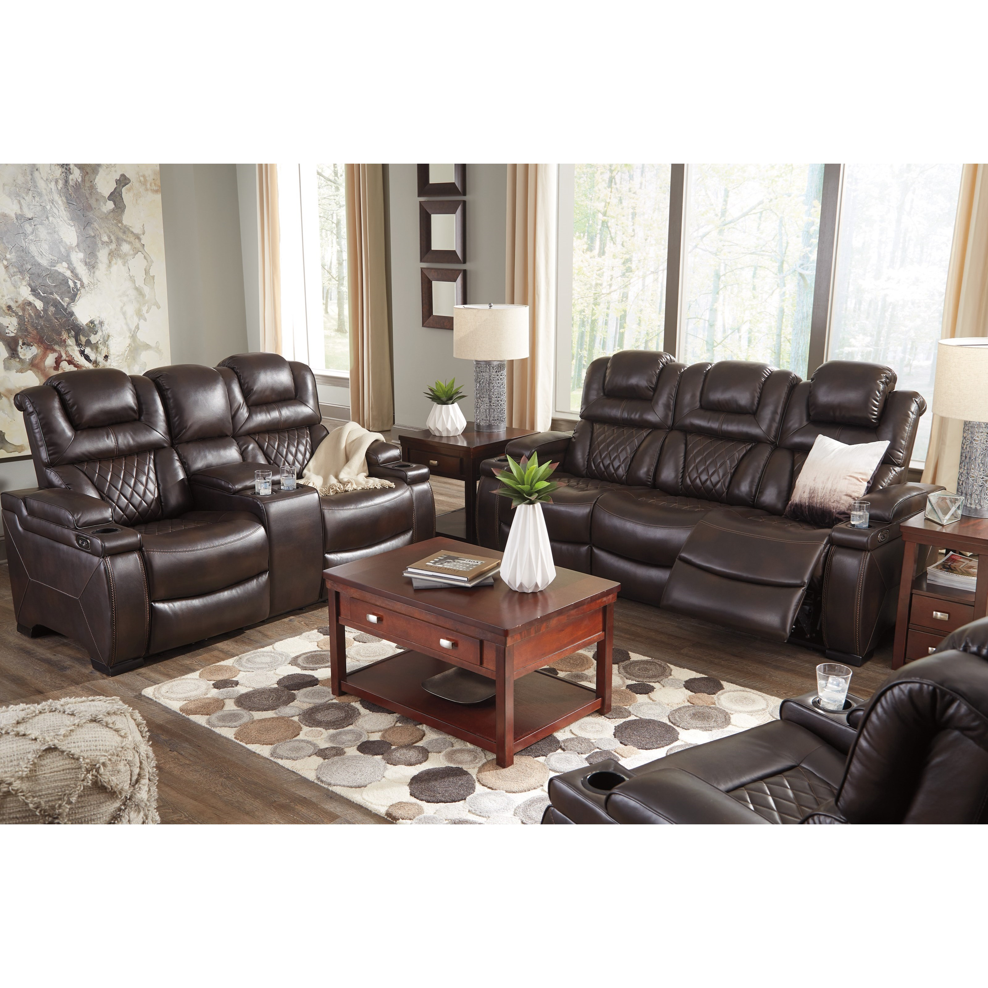 Signature design by ashley warnerton reclining living room for Living room furniture groups