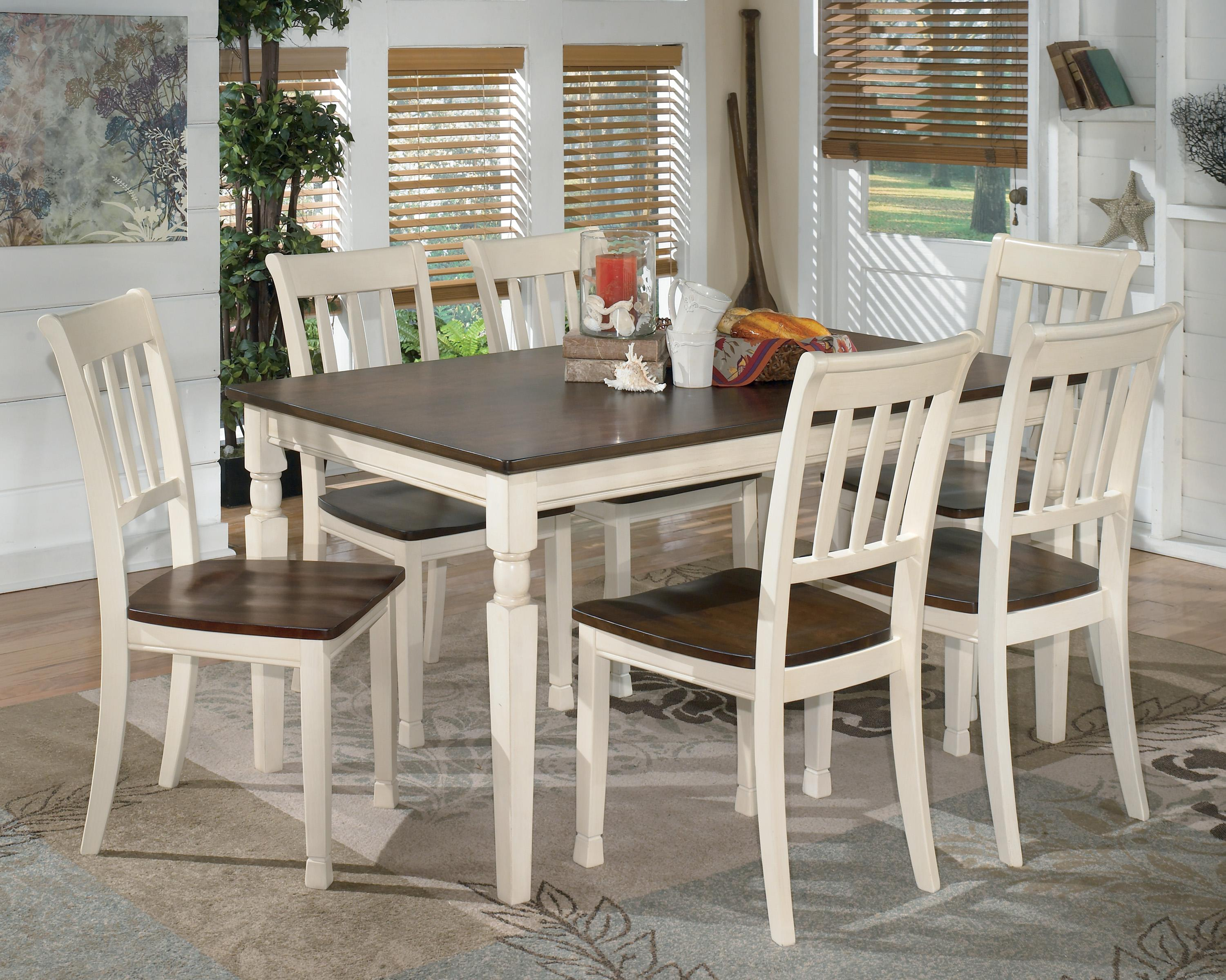 Signature design by ashley whitesburg 7 piece rectangular for Ashley furniture dining table