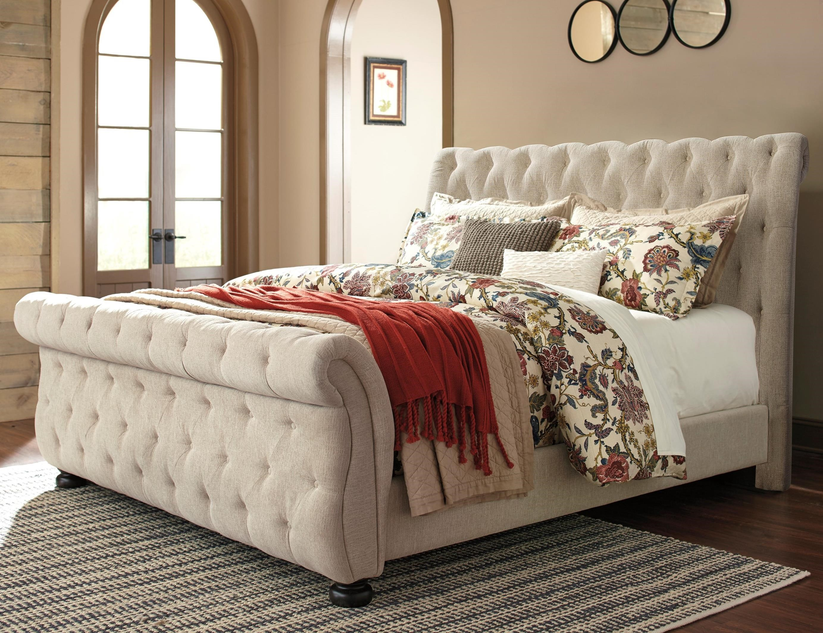 signature design by ashley willenburg queen upholstered sleigh bed with tufting john v schultz. Black Bedroom Furniture Sets. Home Design Ideas