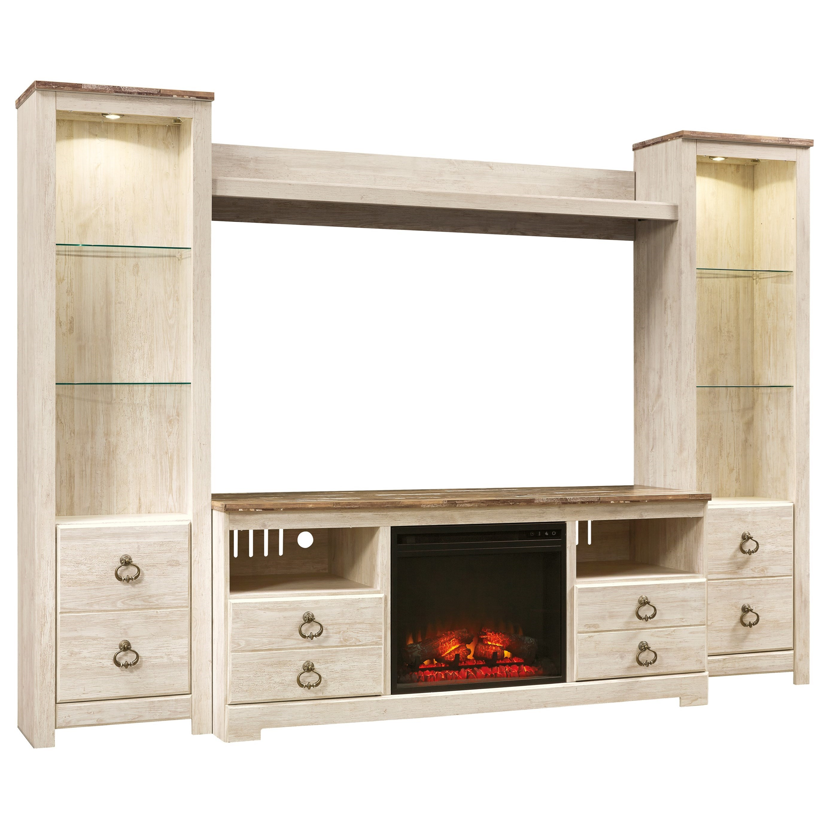 signature design by ashley willowton entertainment center with fireplace insert value city. Black Bedroom Furniture Sets. Home Design Ideas