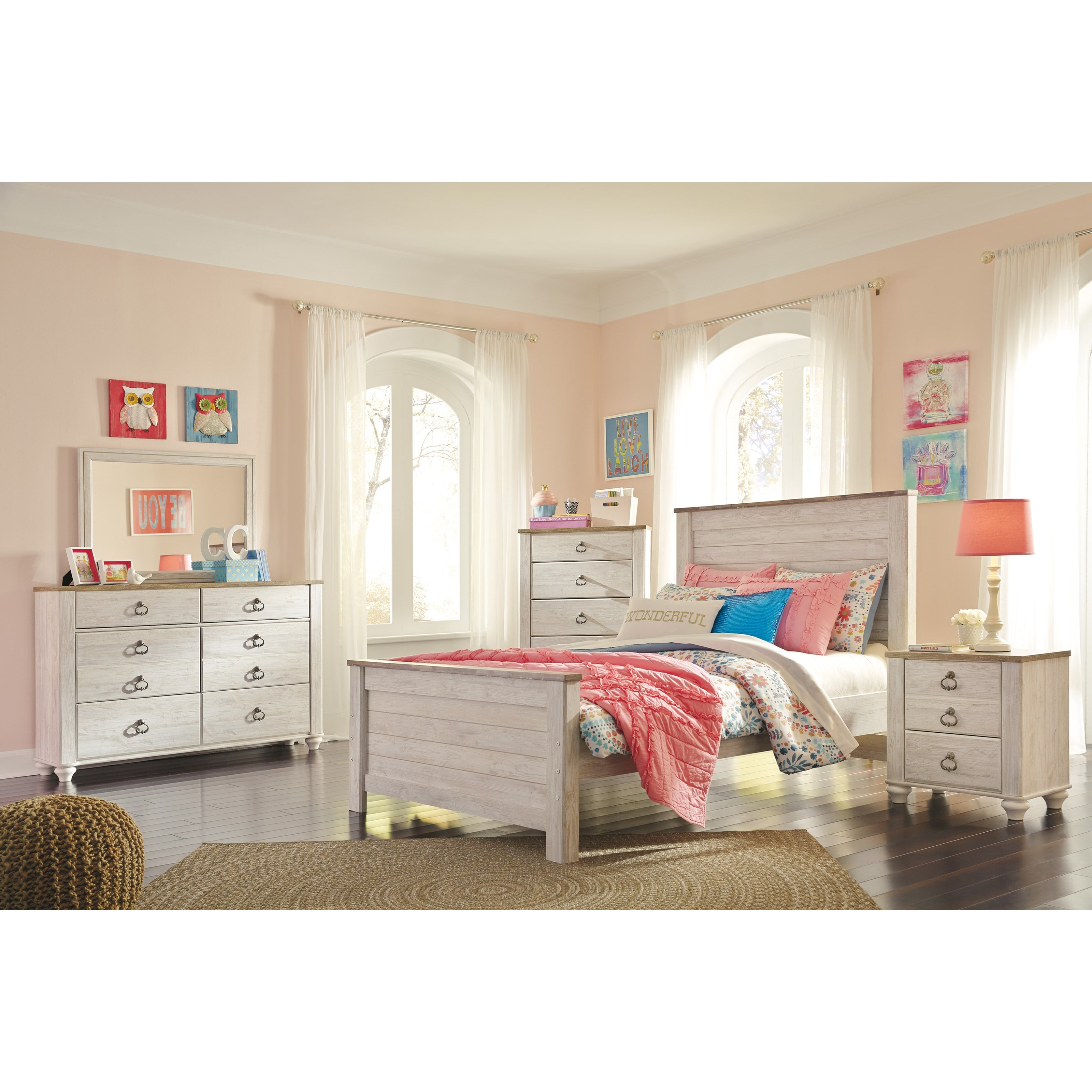 Signature design by ashley willowton full bedroom group for Bedroom furniture groups