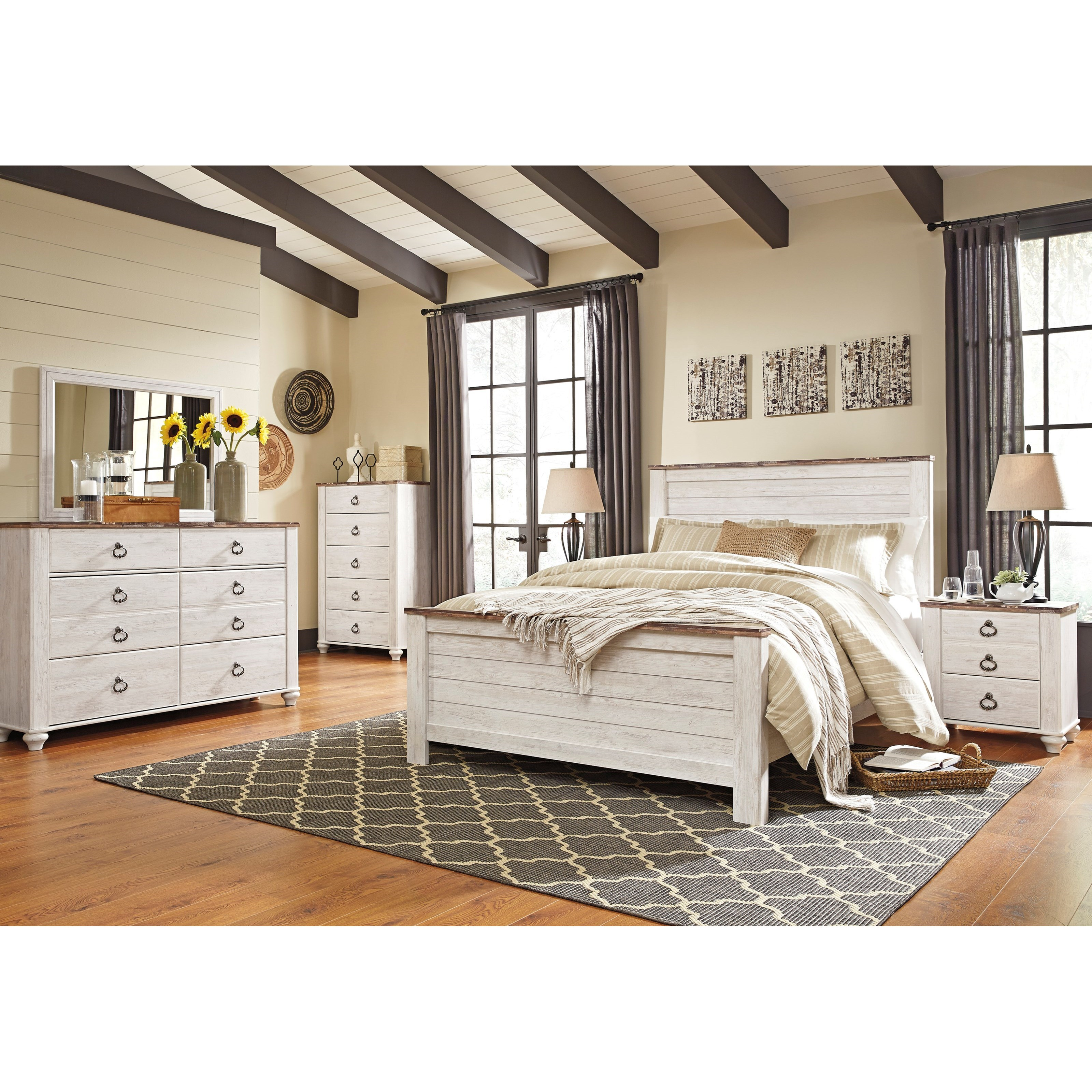 Signature design by ashley willowton queen bedroom group for Bedroom groups