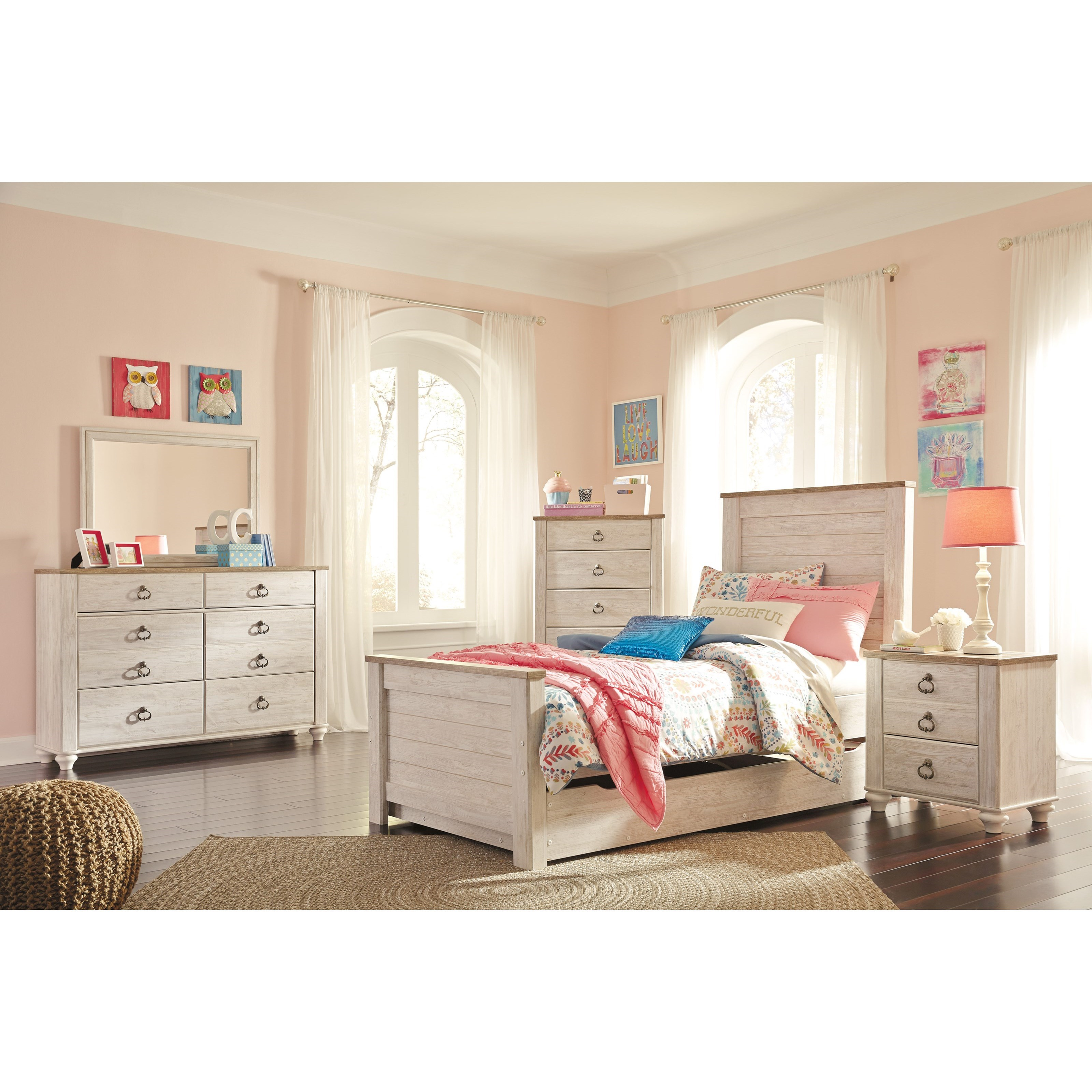 Signature design by ashley willowton twin bedroom group for Bedroom furniture groups