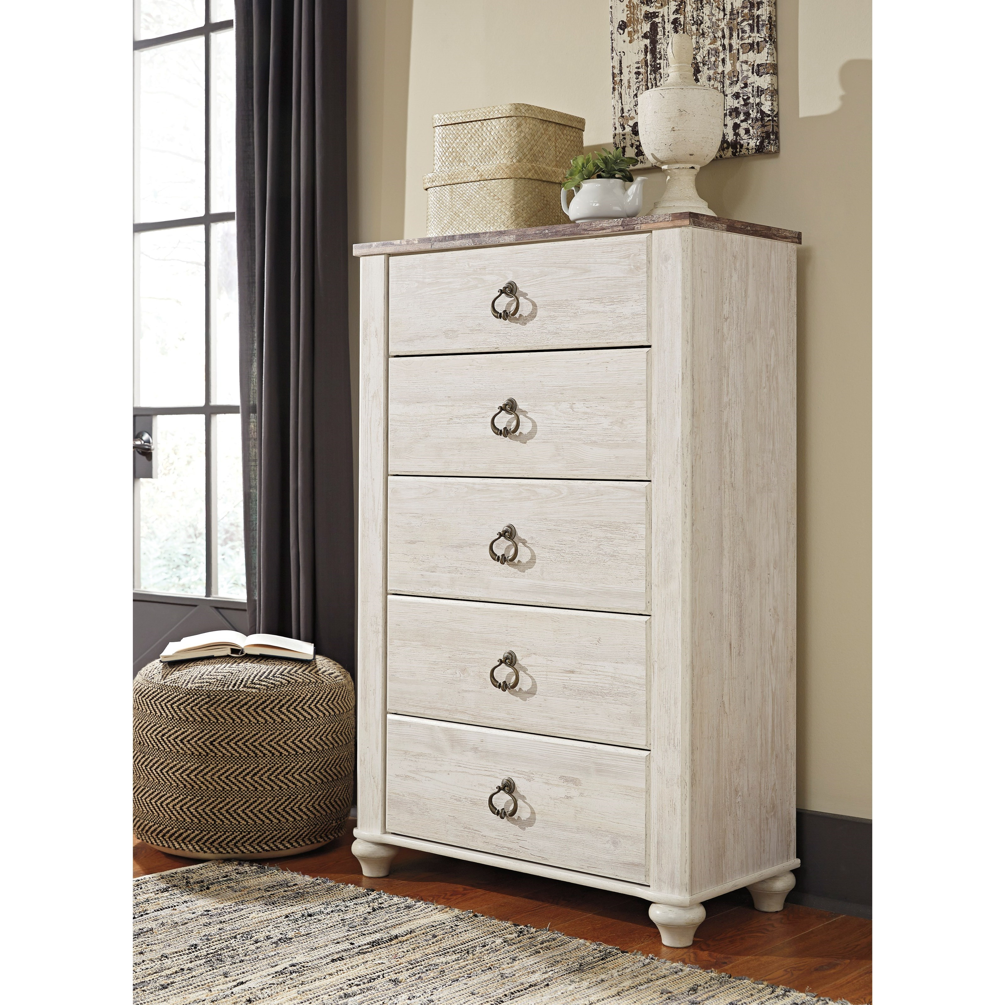 Signature design by ashley willowton two tone five drawer for Bedroom furniture 37027
