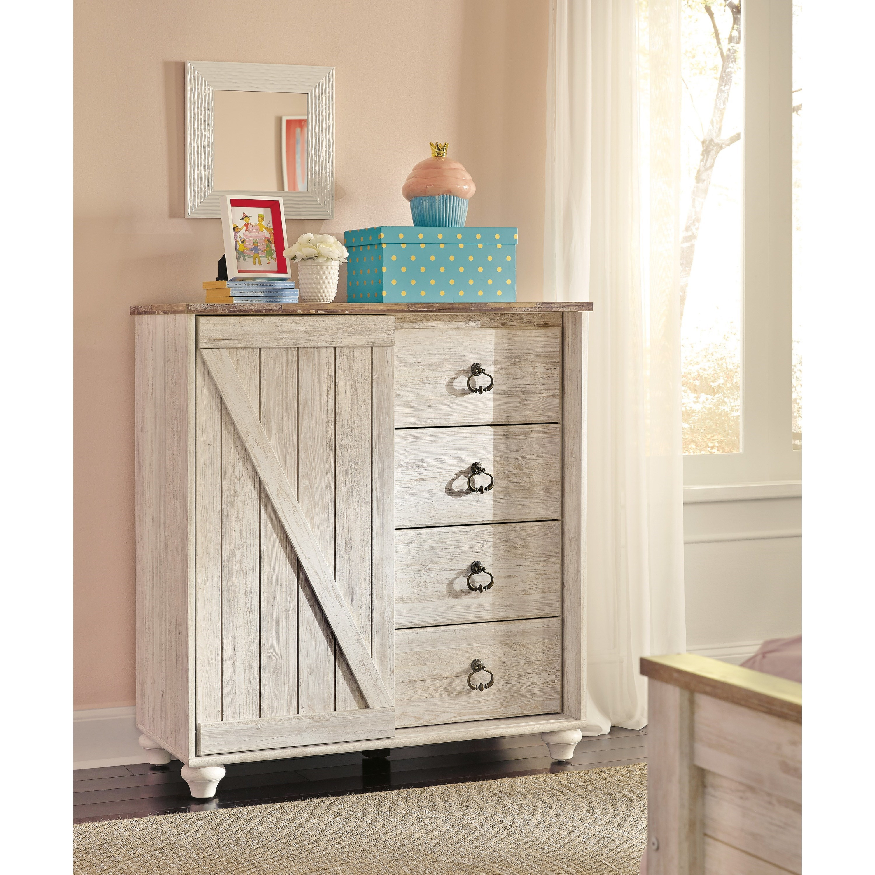 Signature design by ashley willowton dressing chest with for Bedroom furniture 37027