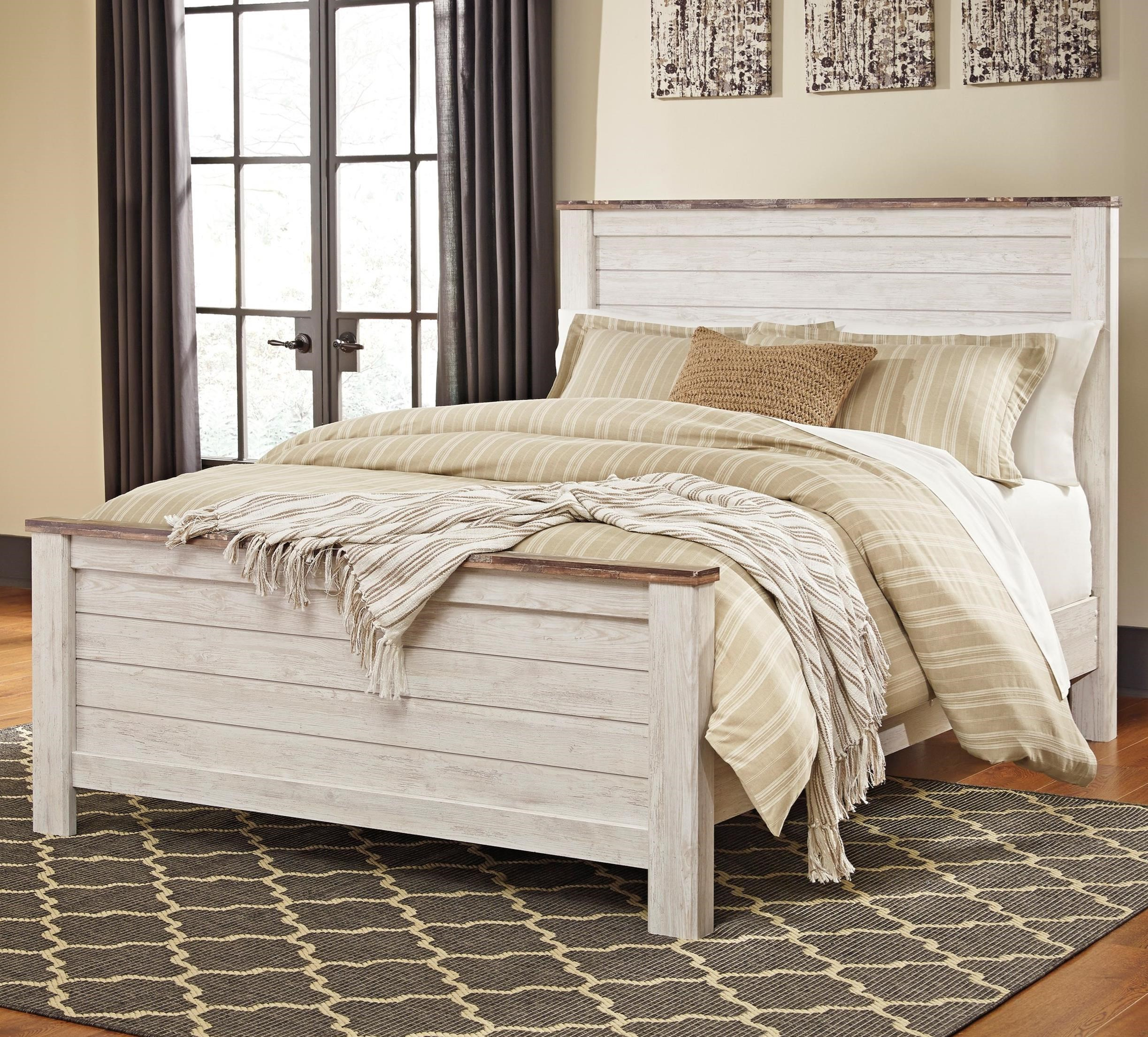 Signature design by ashley willowton two tone queen panel for Panel bed mattress