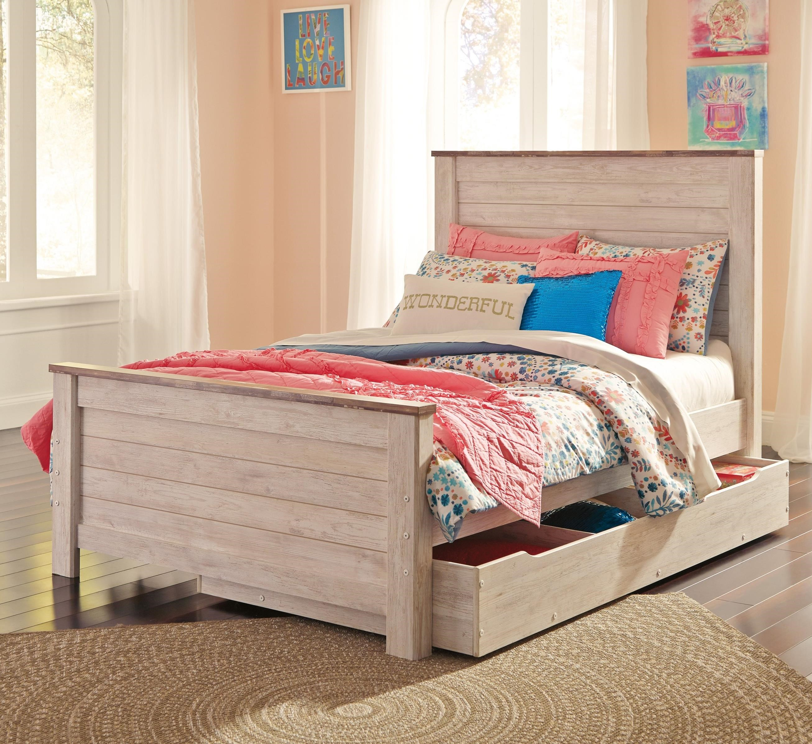 Signature Design By Ashley Willowton Two Tone Full Panel Bed With Under Bed Storage Household