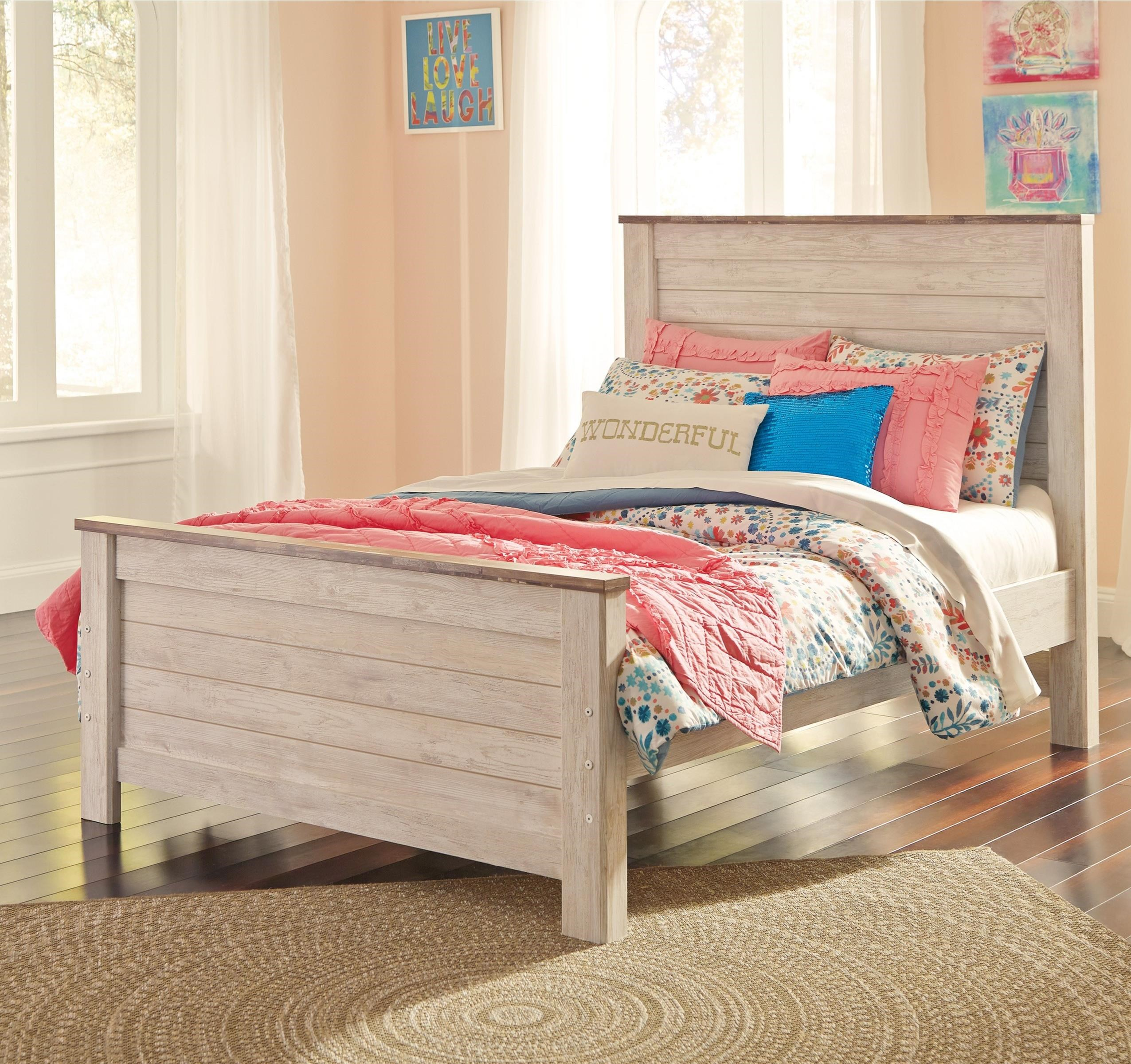 signature design by ashley willowton two tone full panel bed in washed white finish with rustic. Black Bedroom Furniture Sets. Home Design Ideas