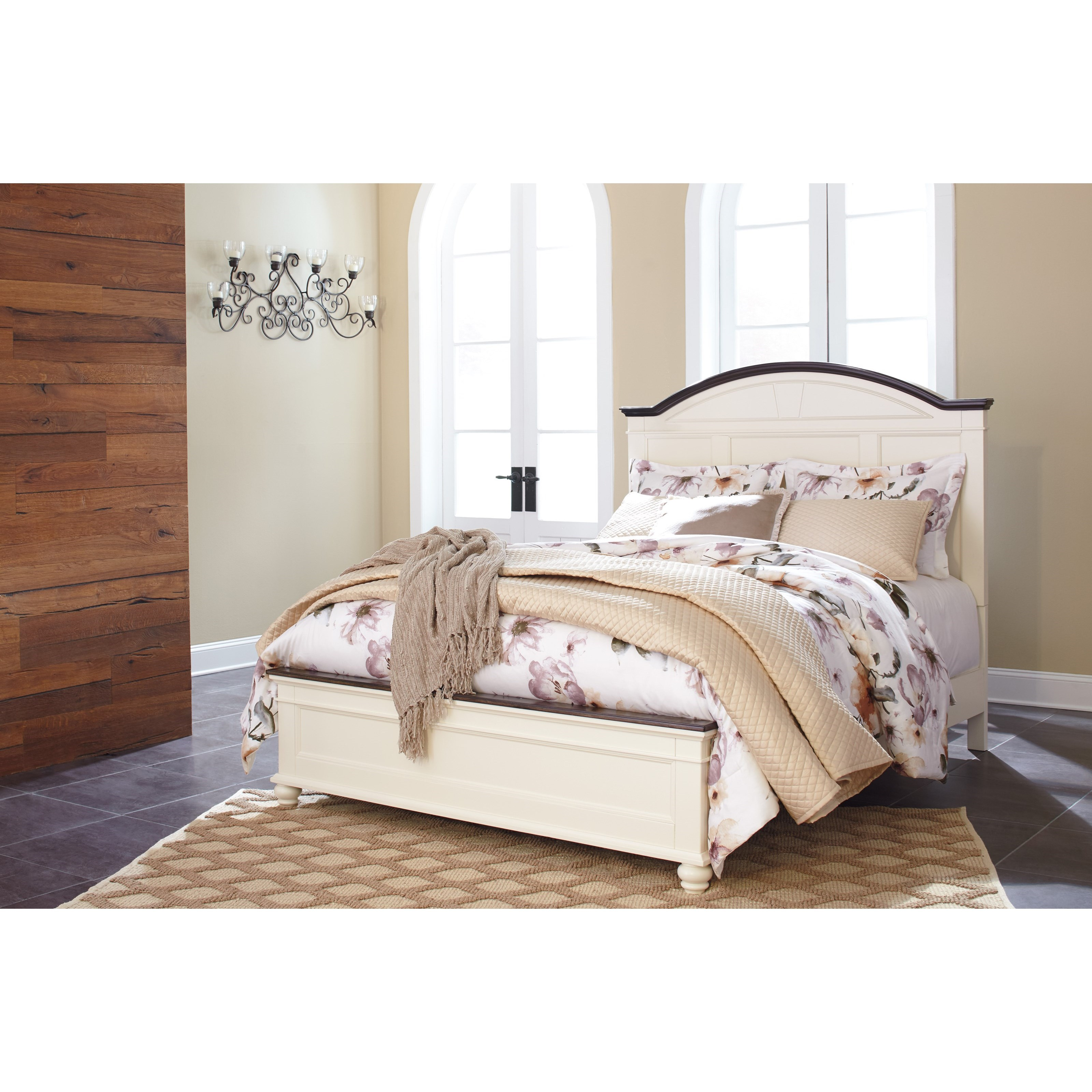 Signature design by ashley woodanville queen panel bed for Panel bed mattress