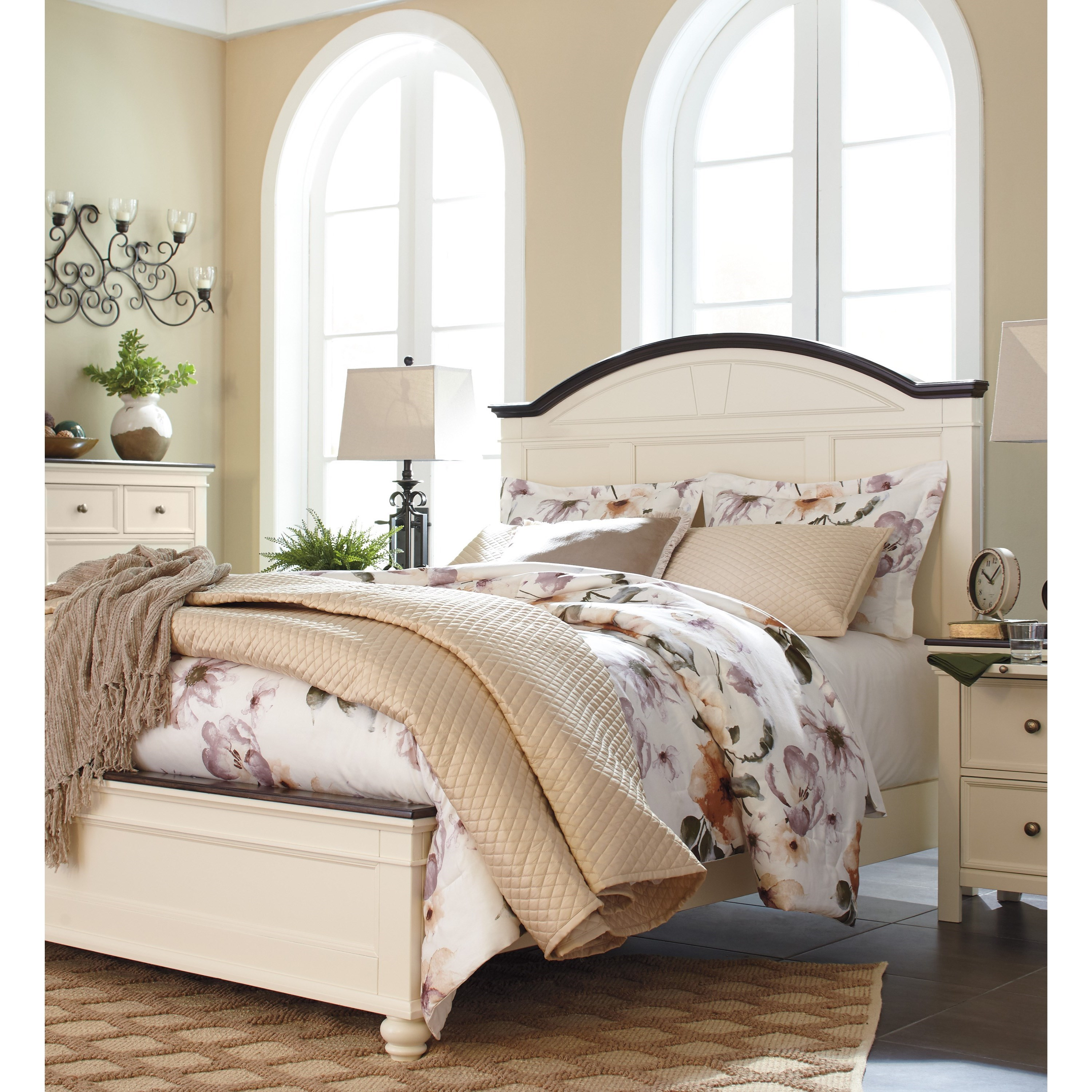 Ashley Signature Design Woodanville King Panel Bed With Arched Headboard Dunk Bright