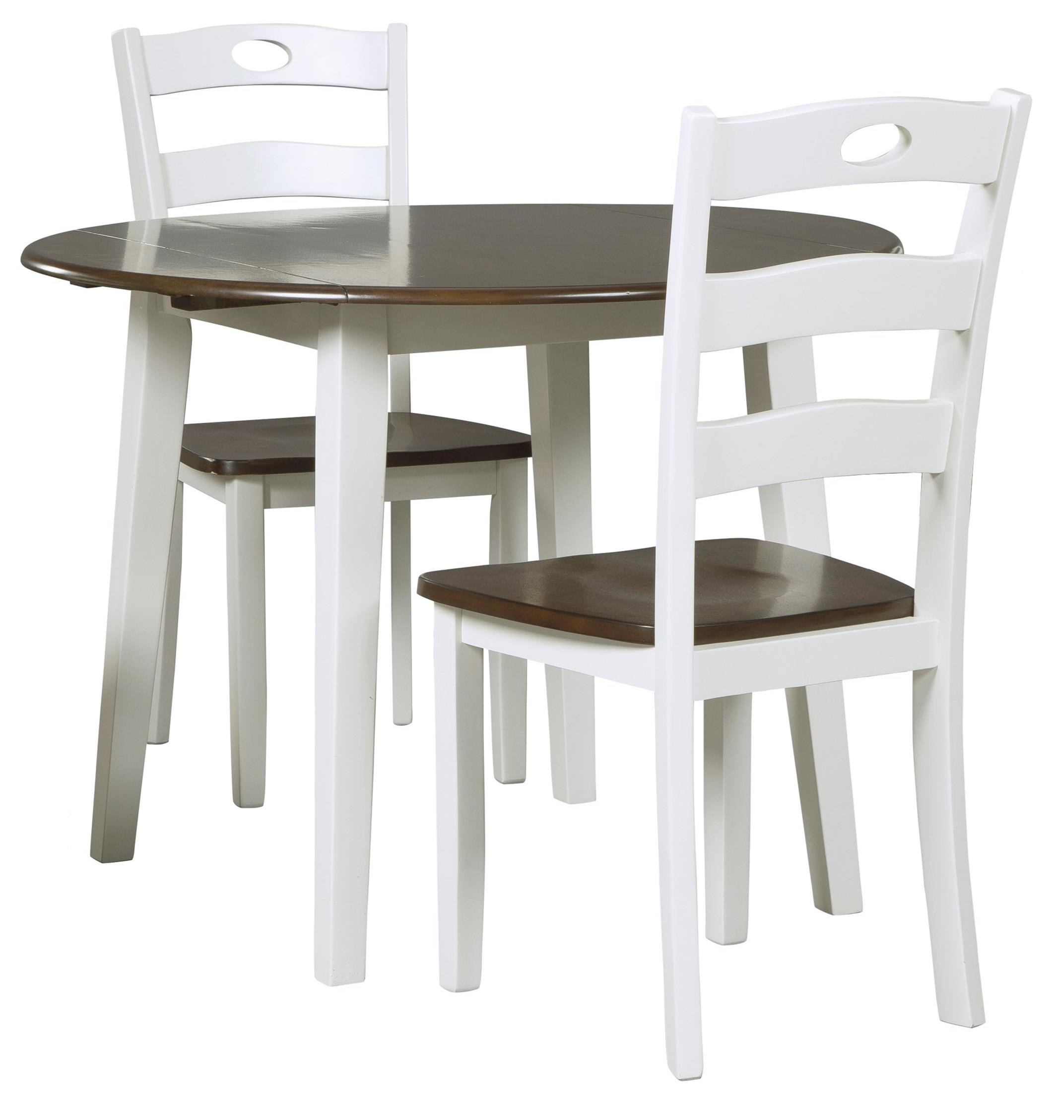 Signature design by ashley woodanville 3 piece round drop for Round dining table set with leaf
