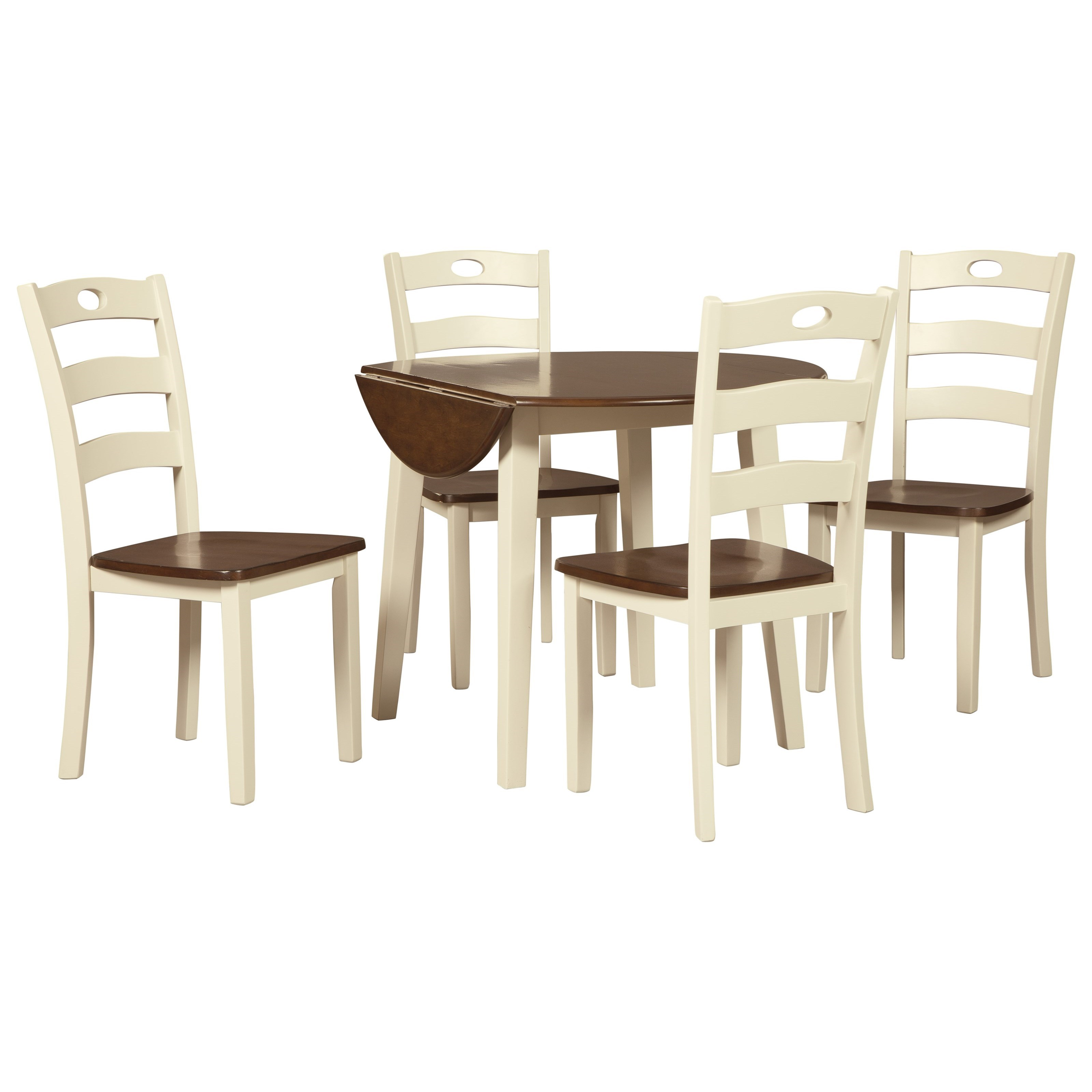 Ashley signature design woodanville 5 piece round drop for Round dining set with leaf