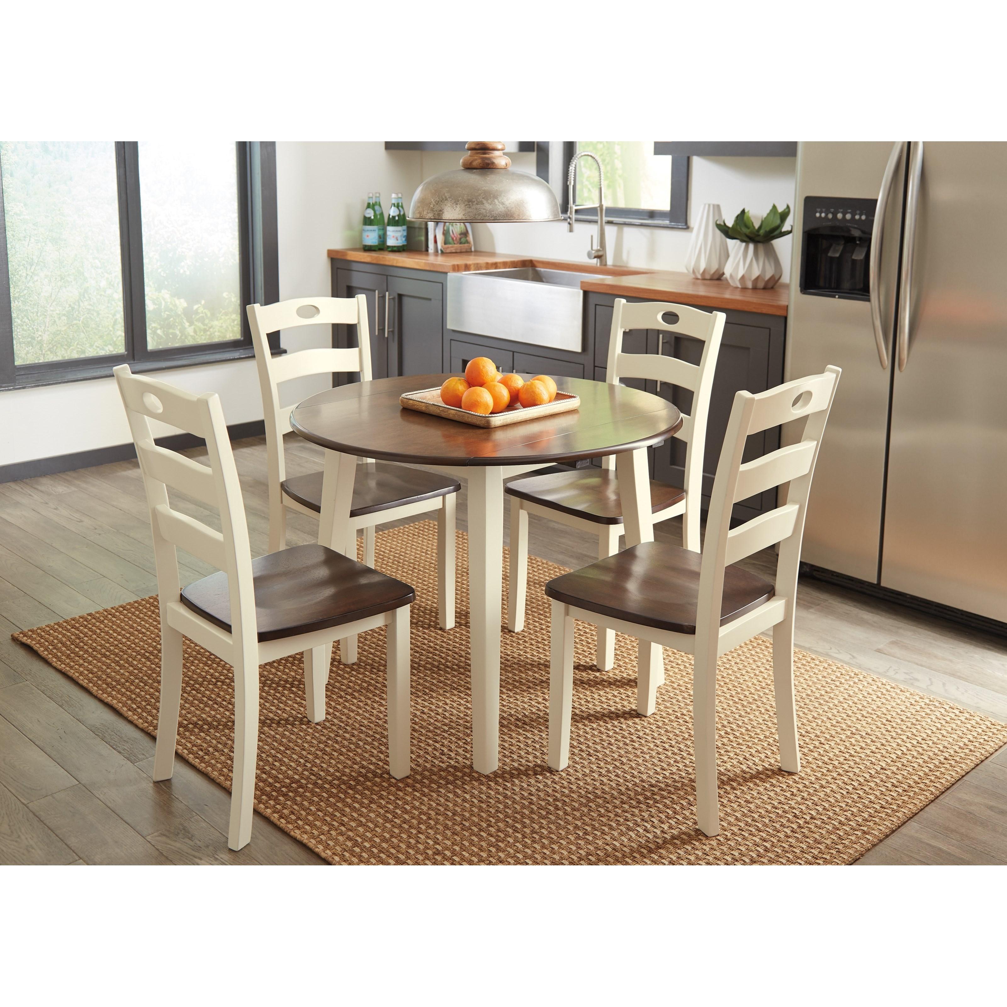 ashley signature design woodanville 5 piece round drop leaf table set dunk bright furniture. Black Bedroom Furniture Sets. Home Design Ideas