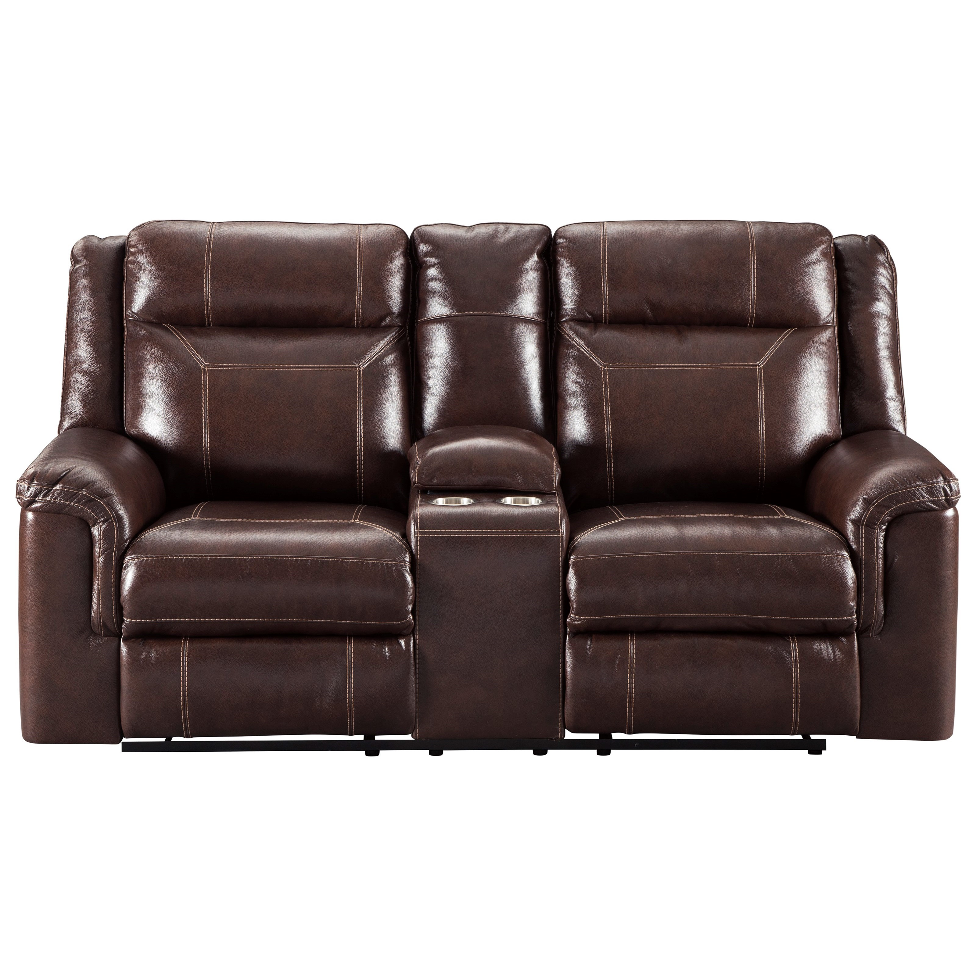 signature design by ashley wyline power reclining loveseat with adjustable headrest and center. Black Bedroom Furniture Sets. Home Design Ideas