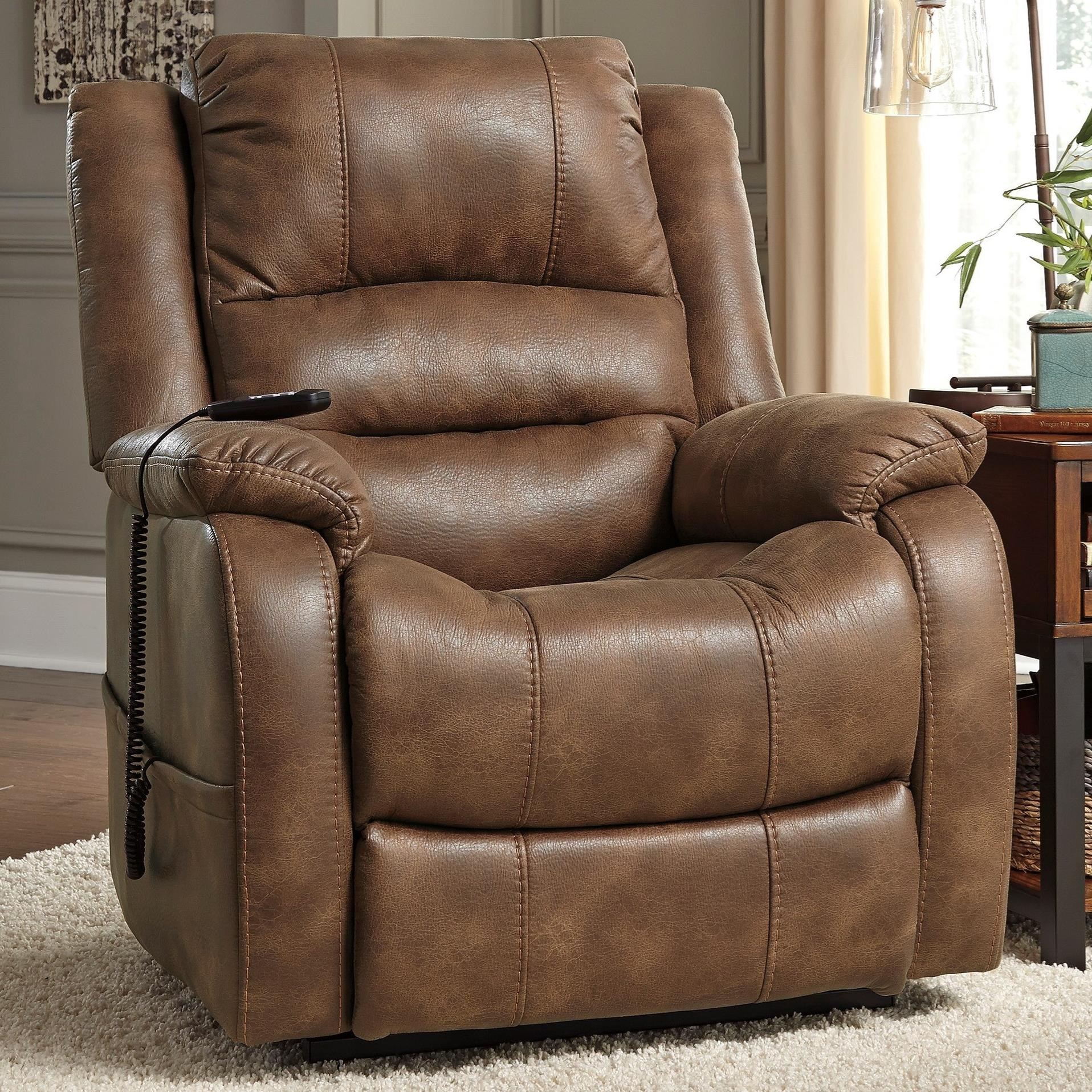 Signature design by ashley yandel faux leather power lift for Recliner lift chair