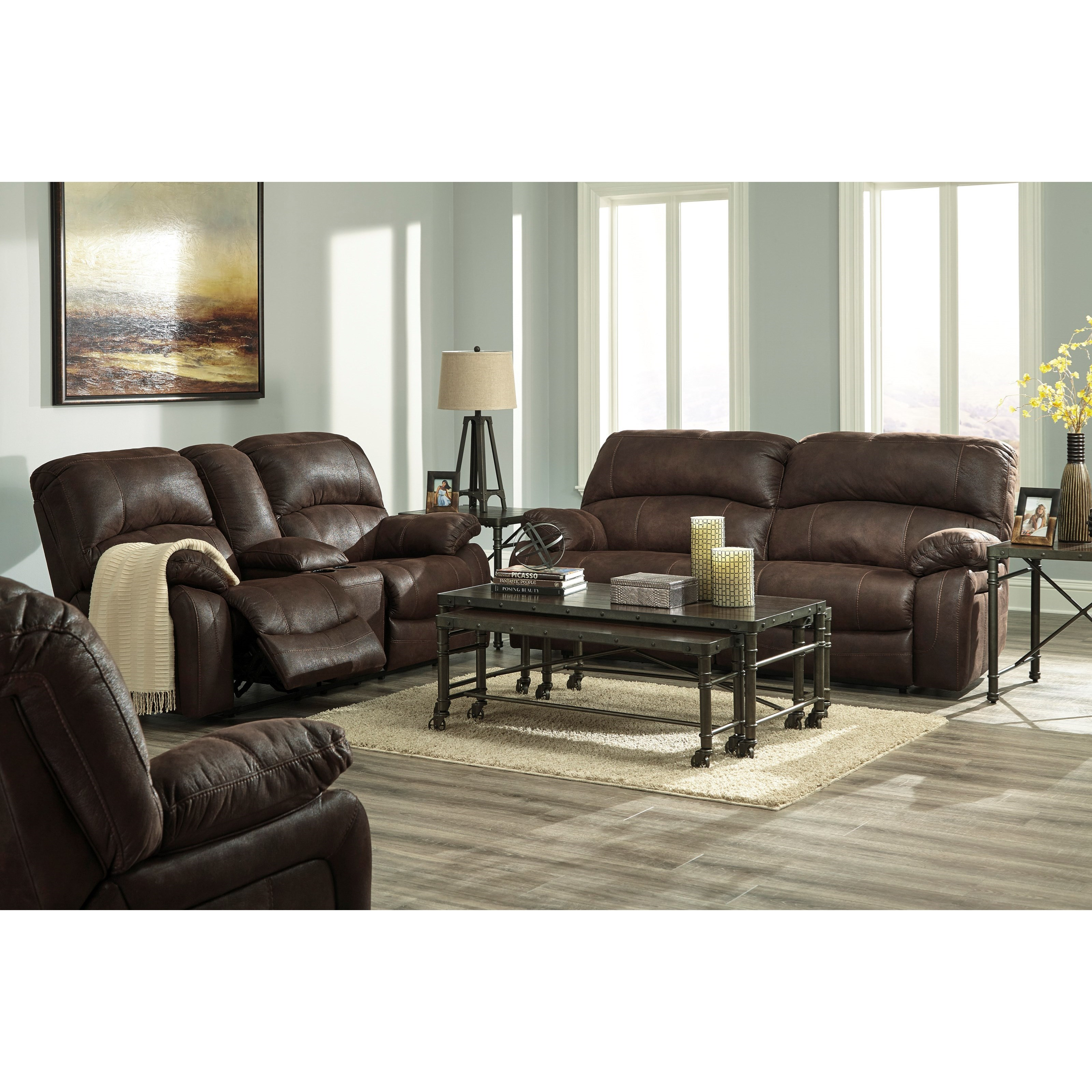 signature design by ashley zavier 4290143 glider reclining loveseat w console in faux brown. Black Bedroom Furniture Sets. Home Design Ideas