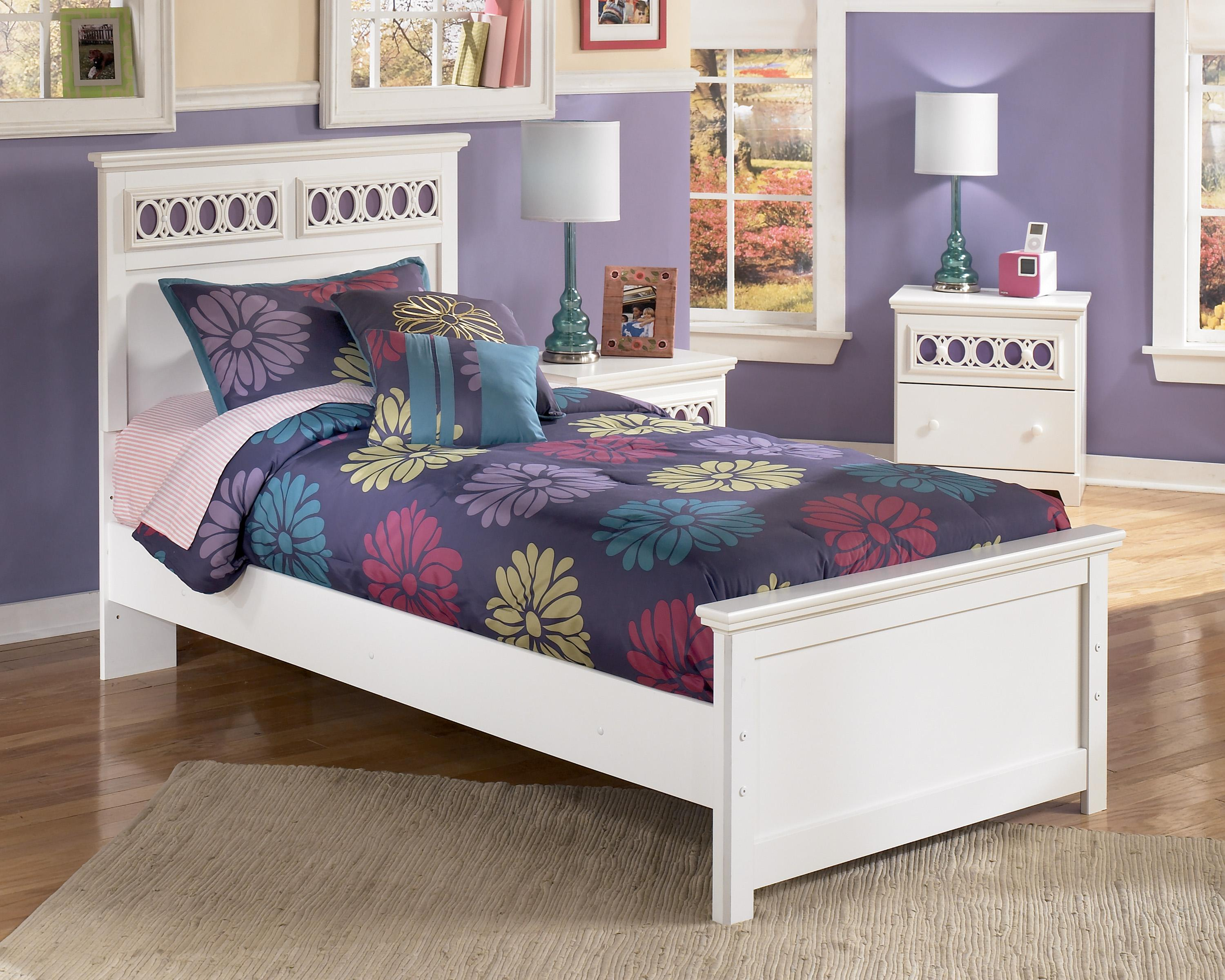 Ashley signature design zayley twin panel bed with for Panel bed mattress