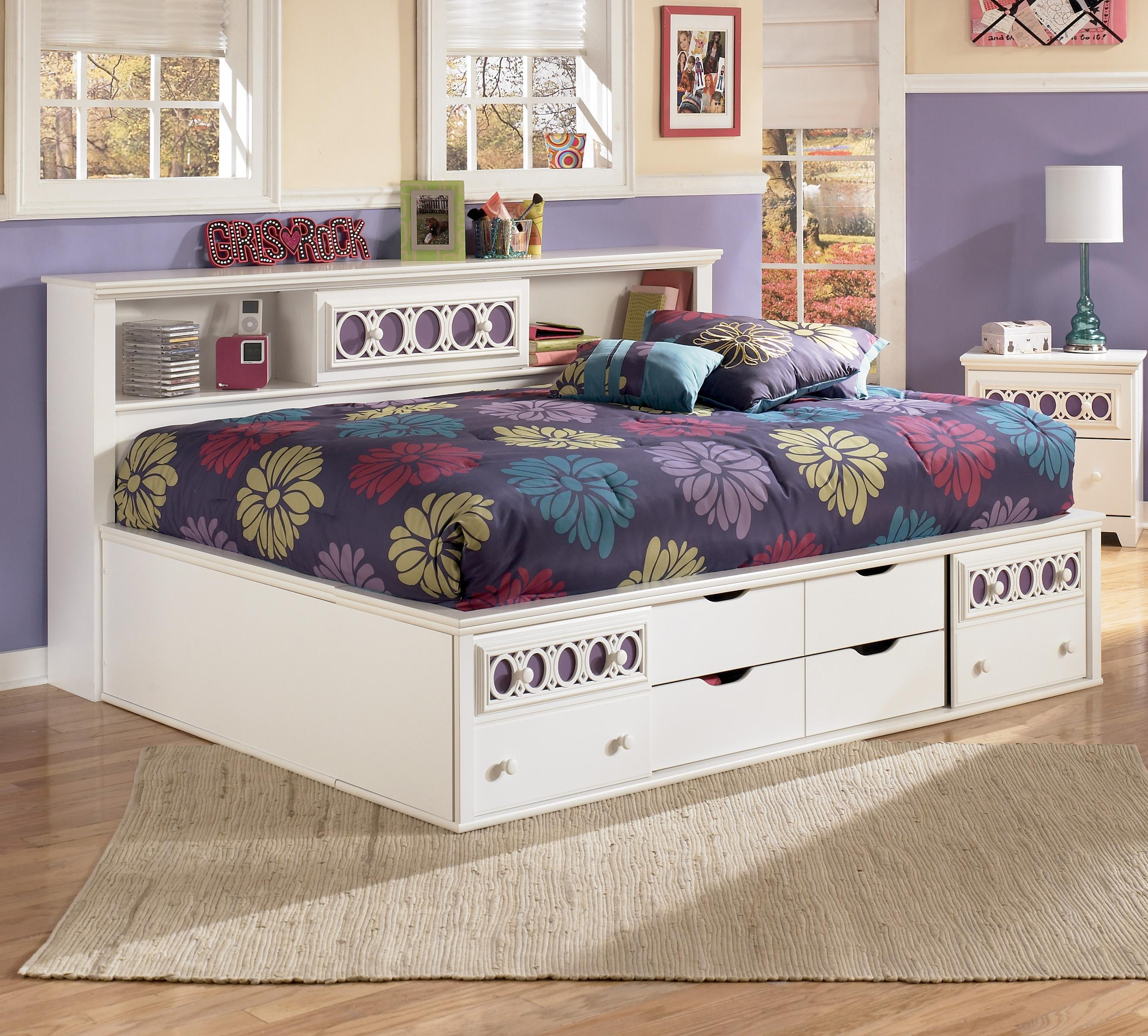 Signature design by ashley zoey full storage daybed Full size daybed with storage