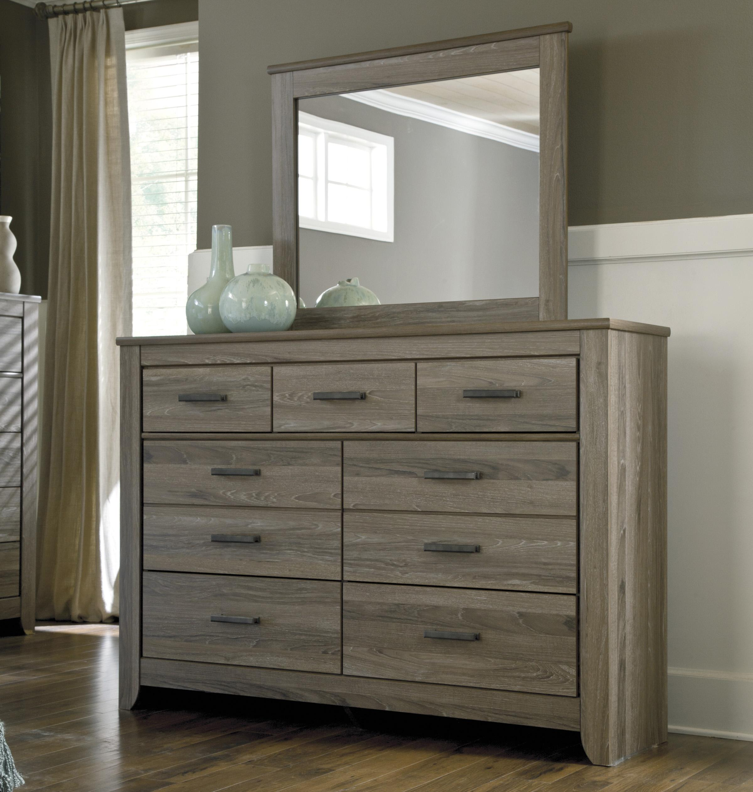 Ashley Signature Design Zelen Rustic Tall Dresser Bedroom Mirror Johnny Janosik Dresser