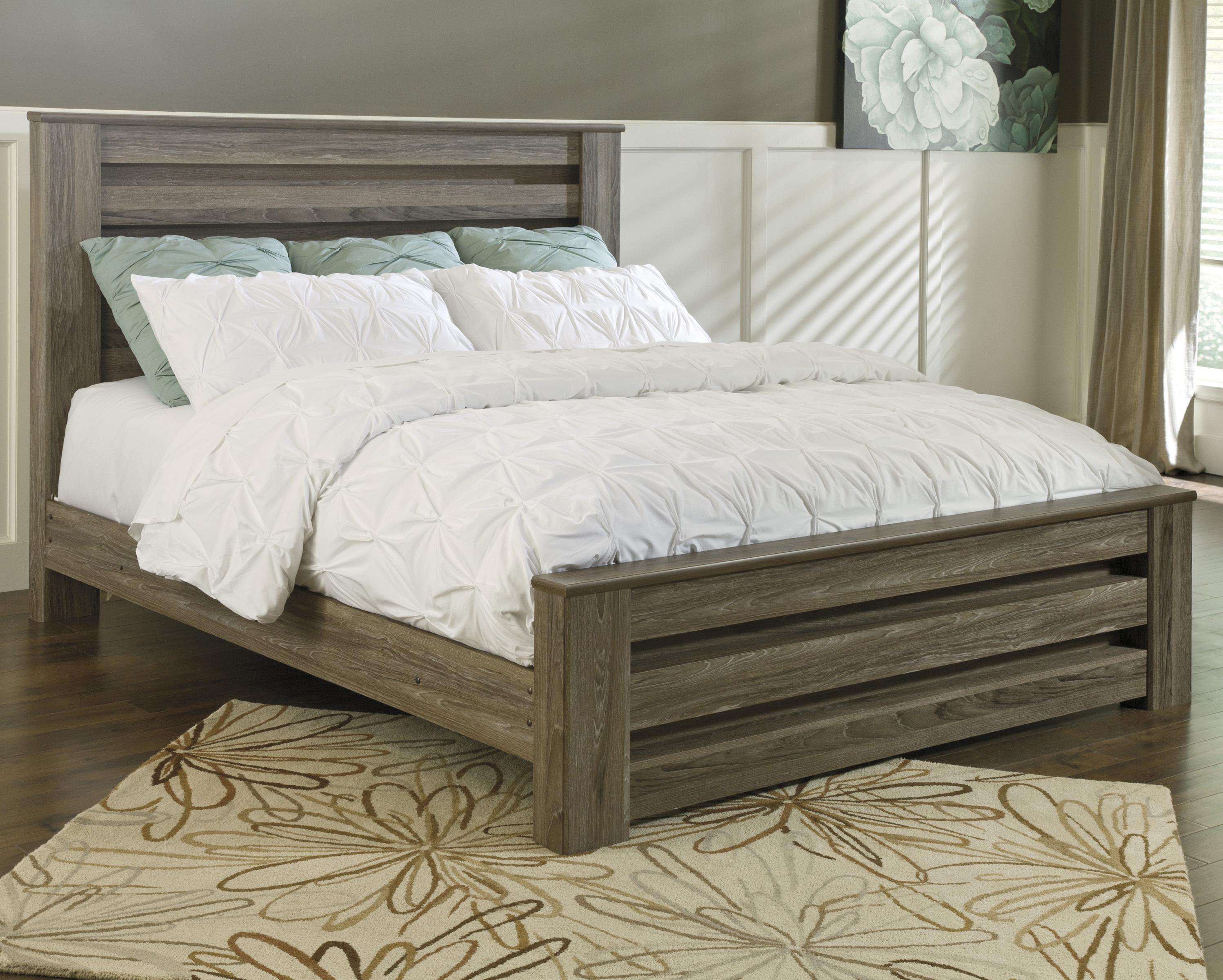 Signature Design By Ashley Zelen King Poster Bed In Warm Gray Rustic Finish Olinde 39 S Furniture