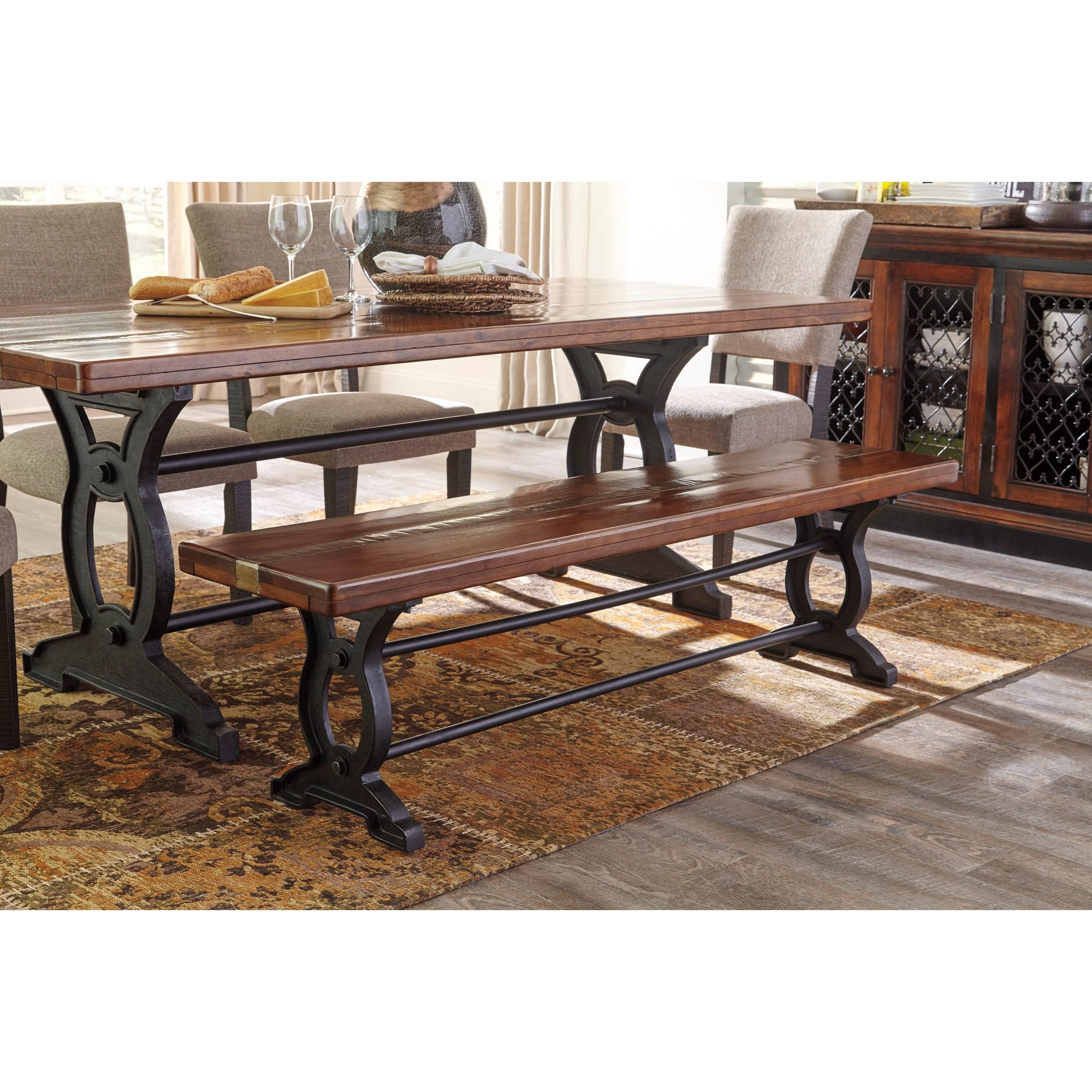 signature design by ashley zurani d709 00 wood metal large dining room bench becker furniture. Black Bedroom Furniture Sets. Home Design Ideas