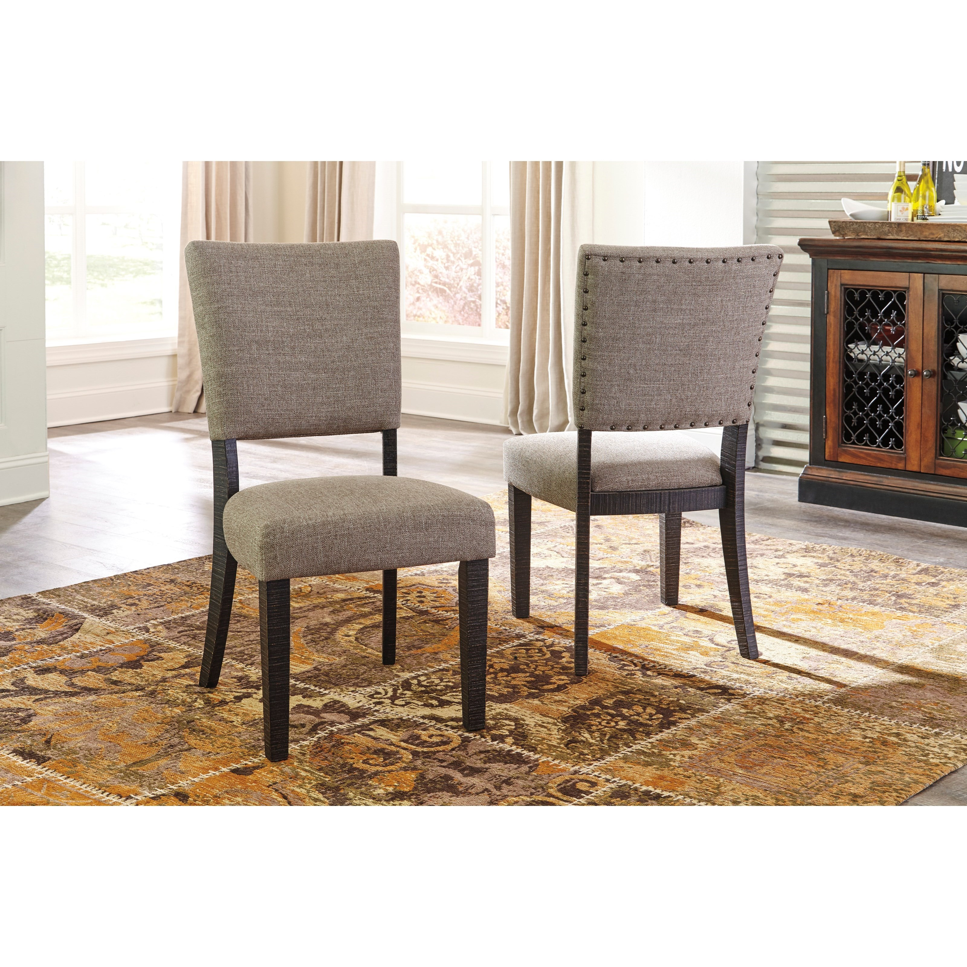 Signature design by ashley zurani dining upholstered side for Upholstered dining room side chairs
