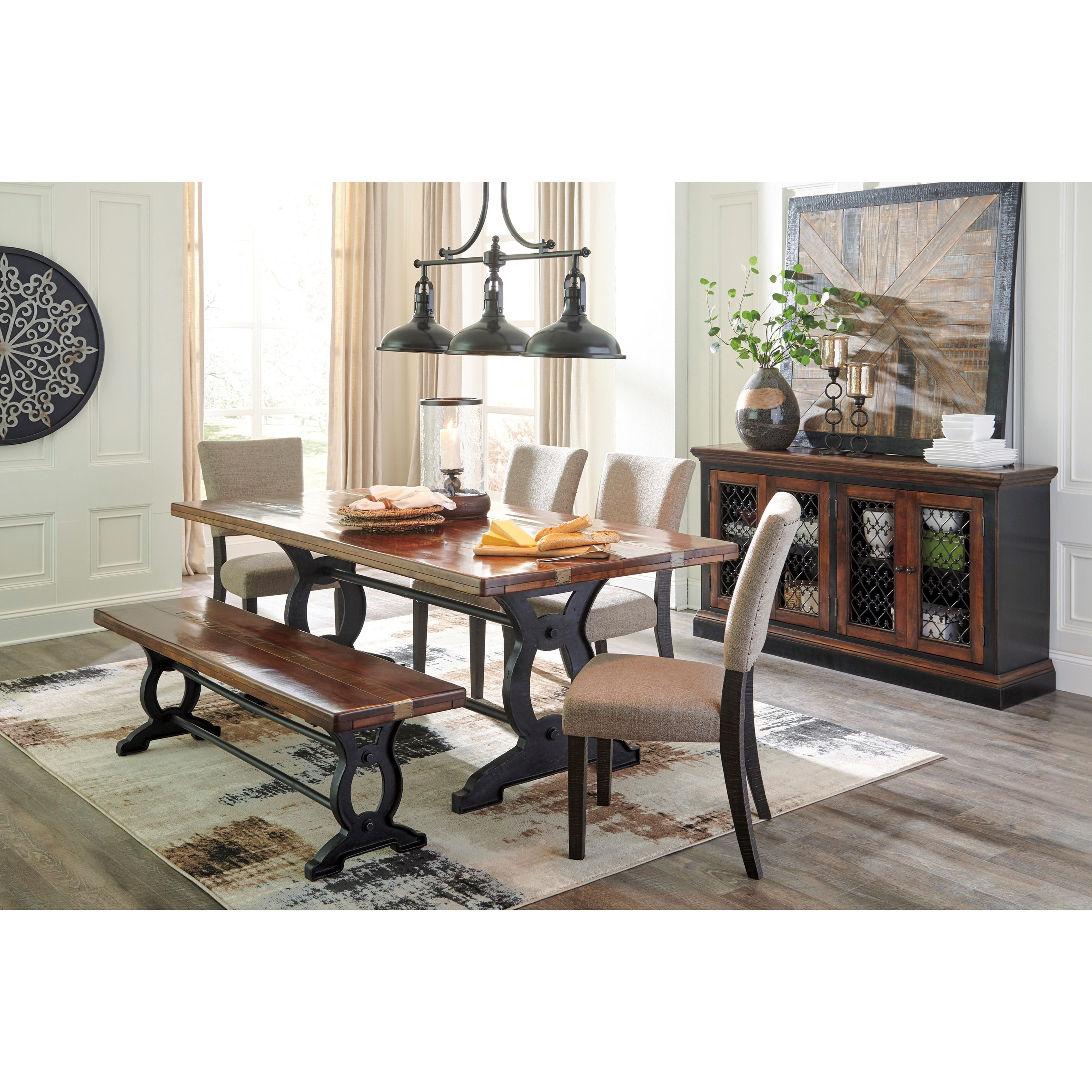 ashley signature design zurani d709 25 solid wood top rectangular dining room table with metal. Black Bedroom Furniture Sets. Home Design Ideas