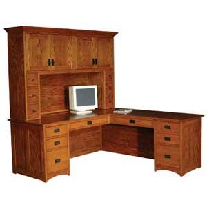 Corner l shape desks twin cities minneapolis st for Mission style corner hutch