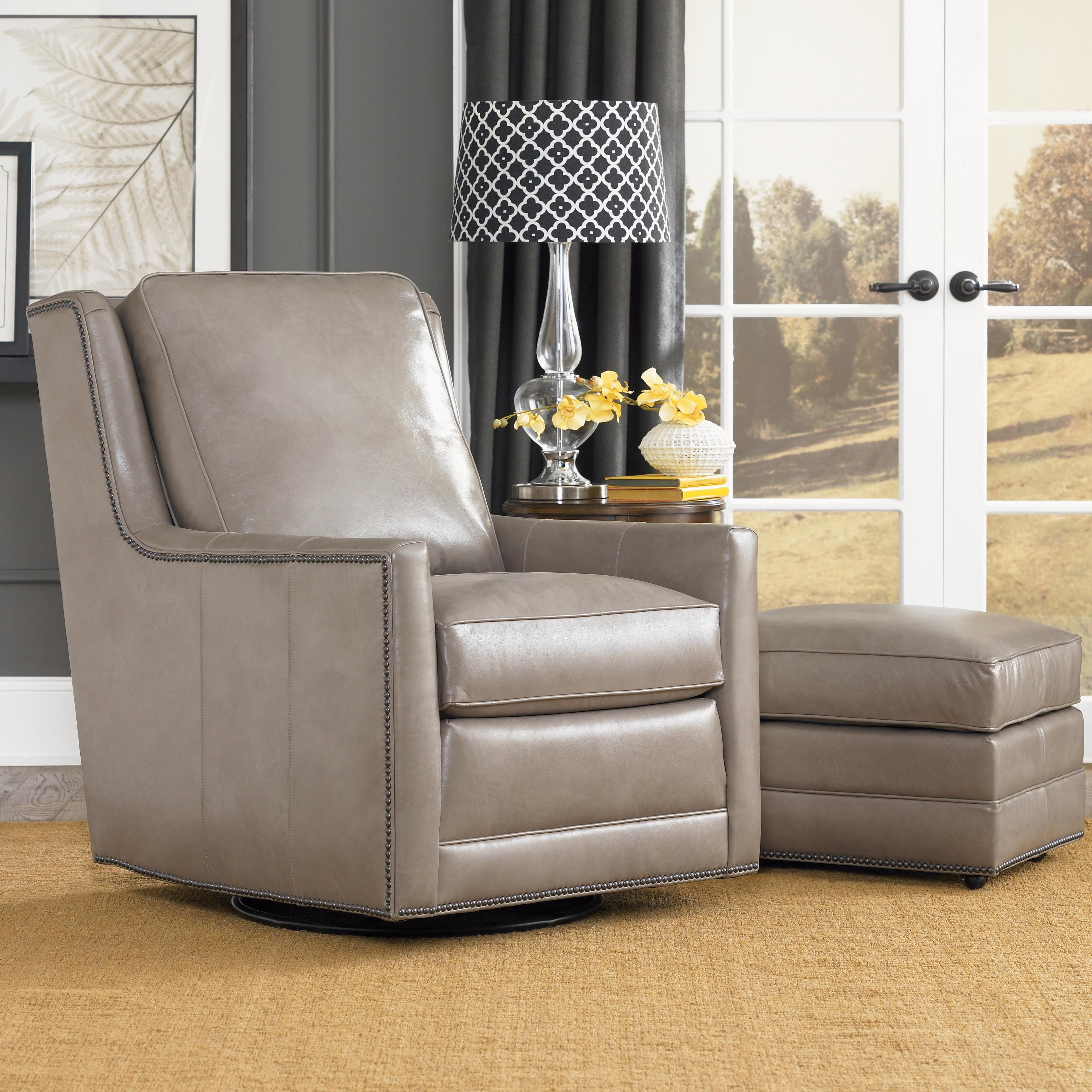 Smith Brothers Accent Chairs And Ottomans Sb Transitional Swivel Chair And Ottoman Set Darvin