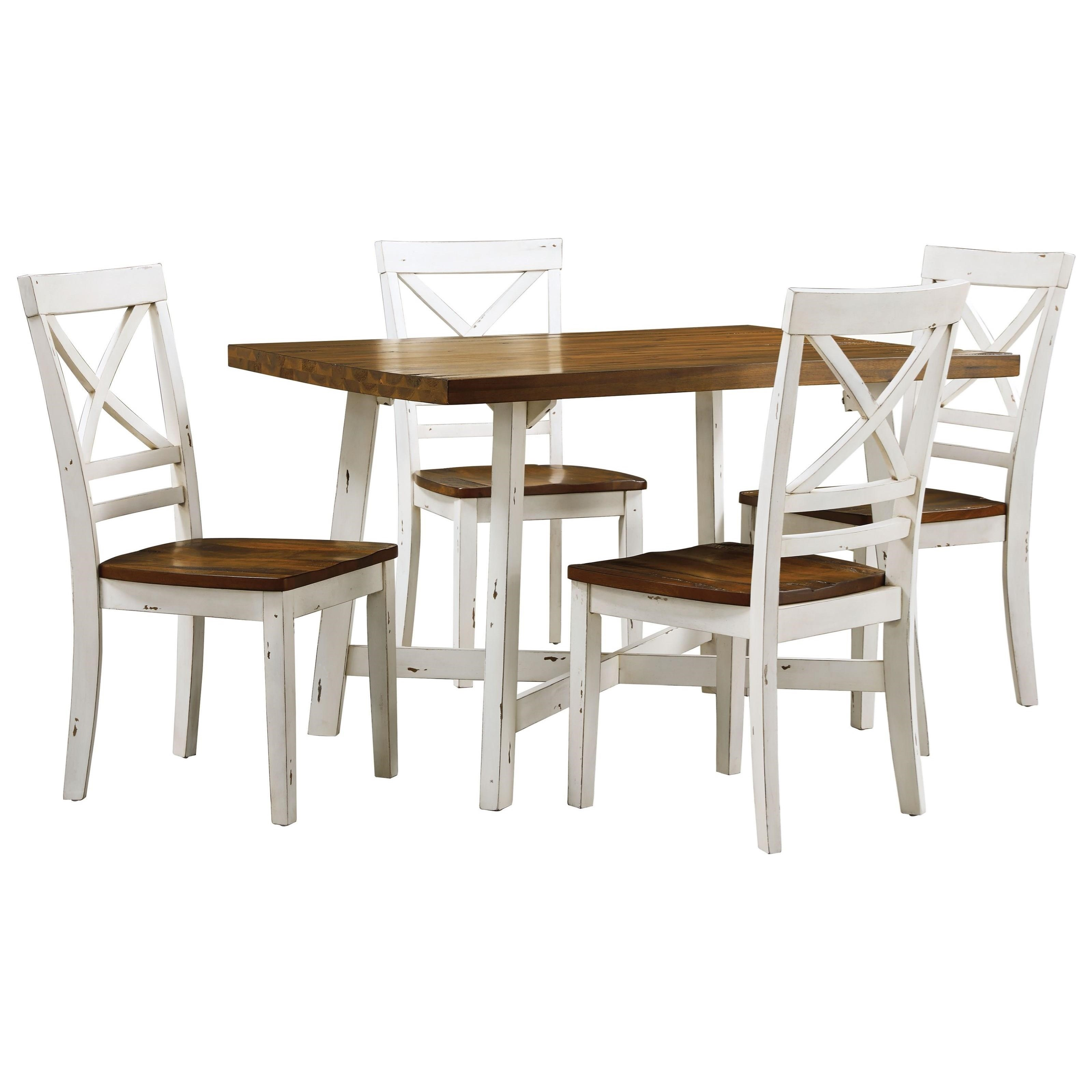 Standard furniture amelia 19082 two tone table and chair for Table and chair set