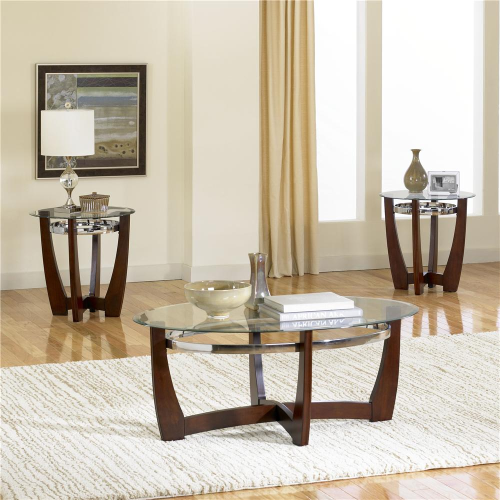 Standard Furniture Apollo 3 Pack With Glass Top Cocktail Table And 2 Glass Top End Tables