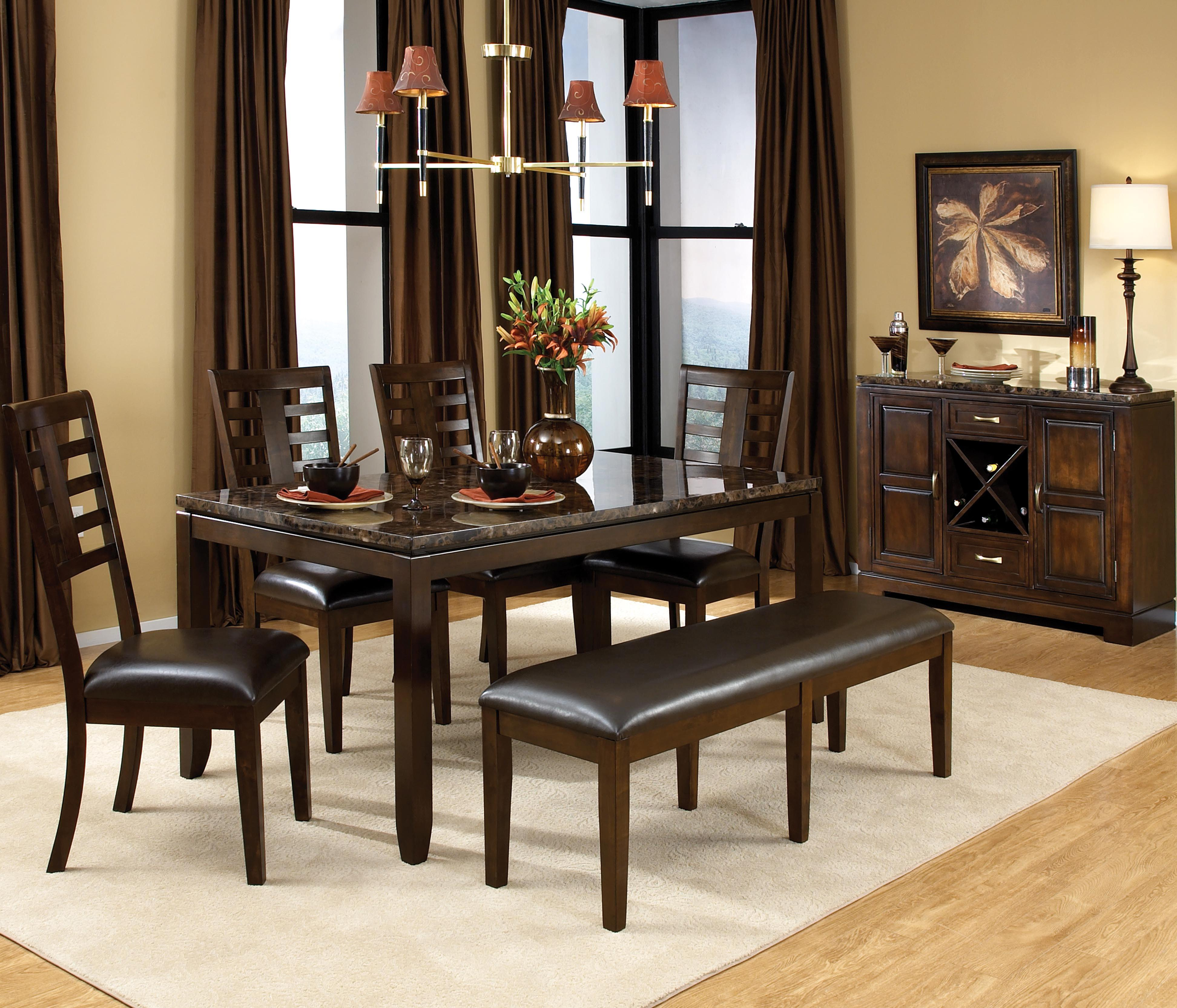 Standard furniture bella 6 piece rectangular leg dining for Standard dining table