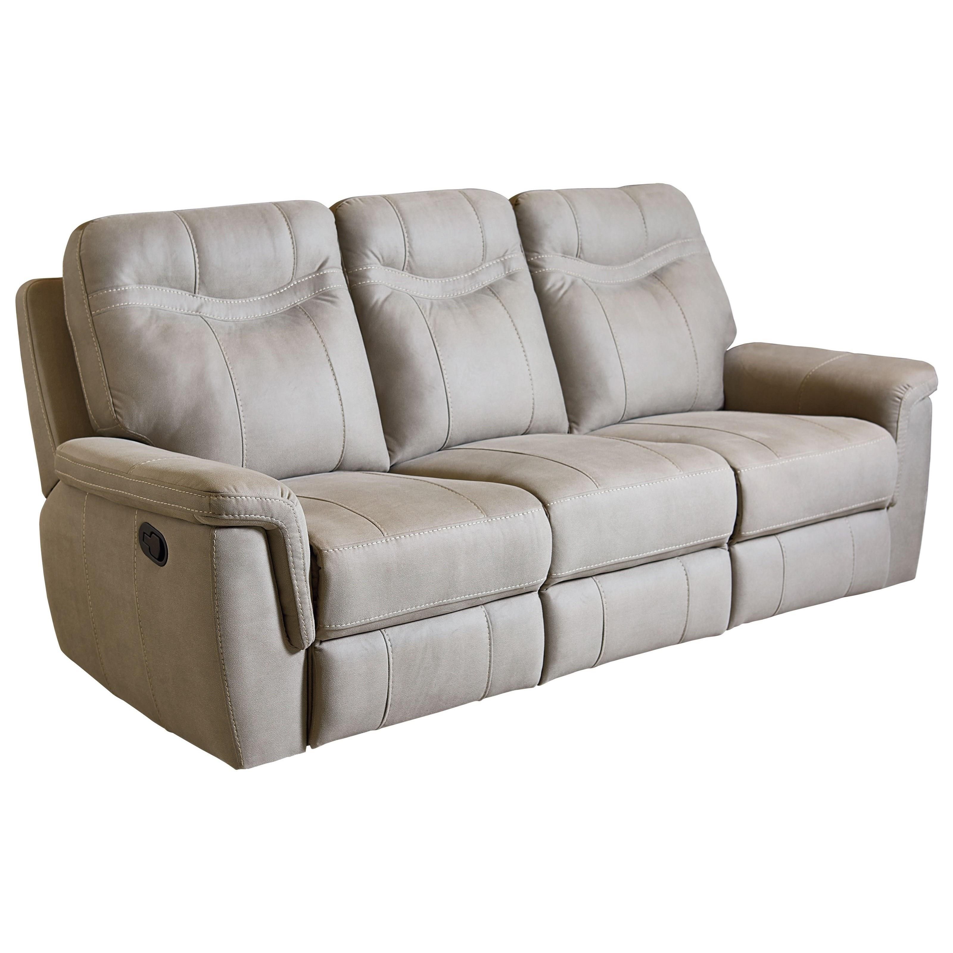 Standard furniture boardwalk 4017391 contemporary stone colored reclining sofa dunk bright - Sofa reclinable ...