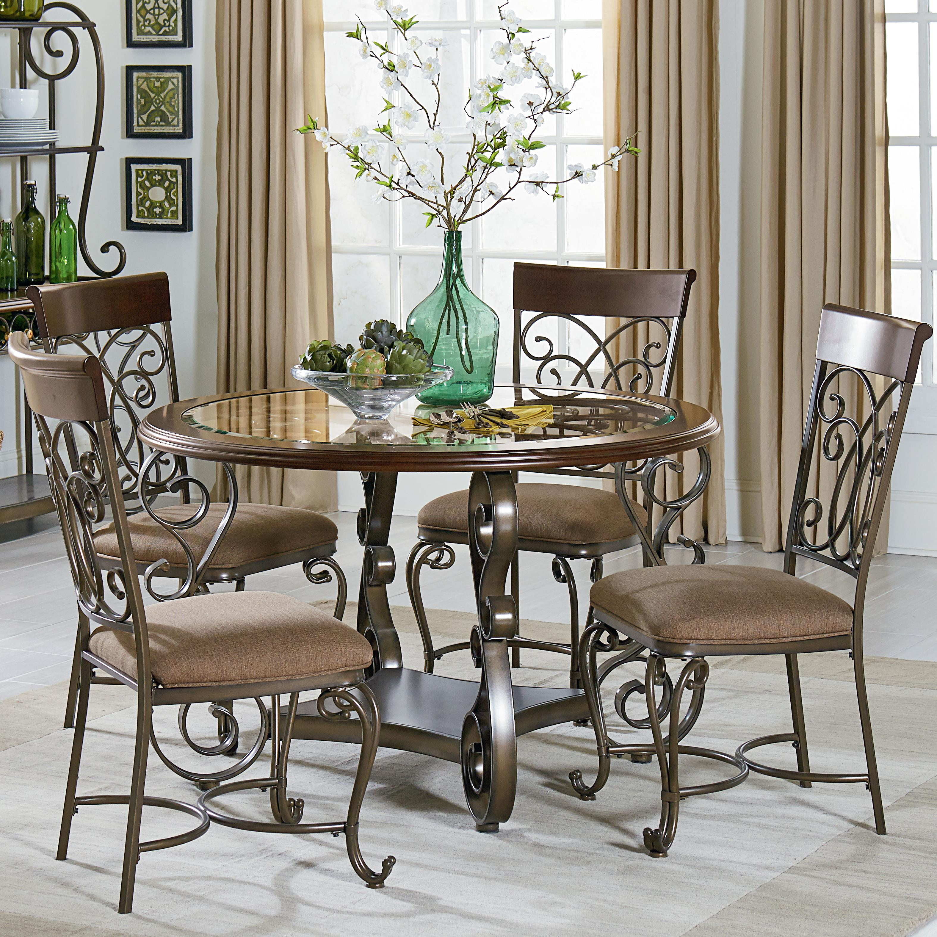 Standard furniture bombay round table and chair set with for Metal dining room chairs