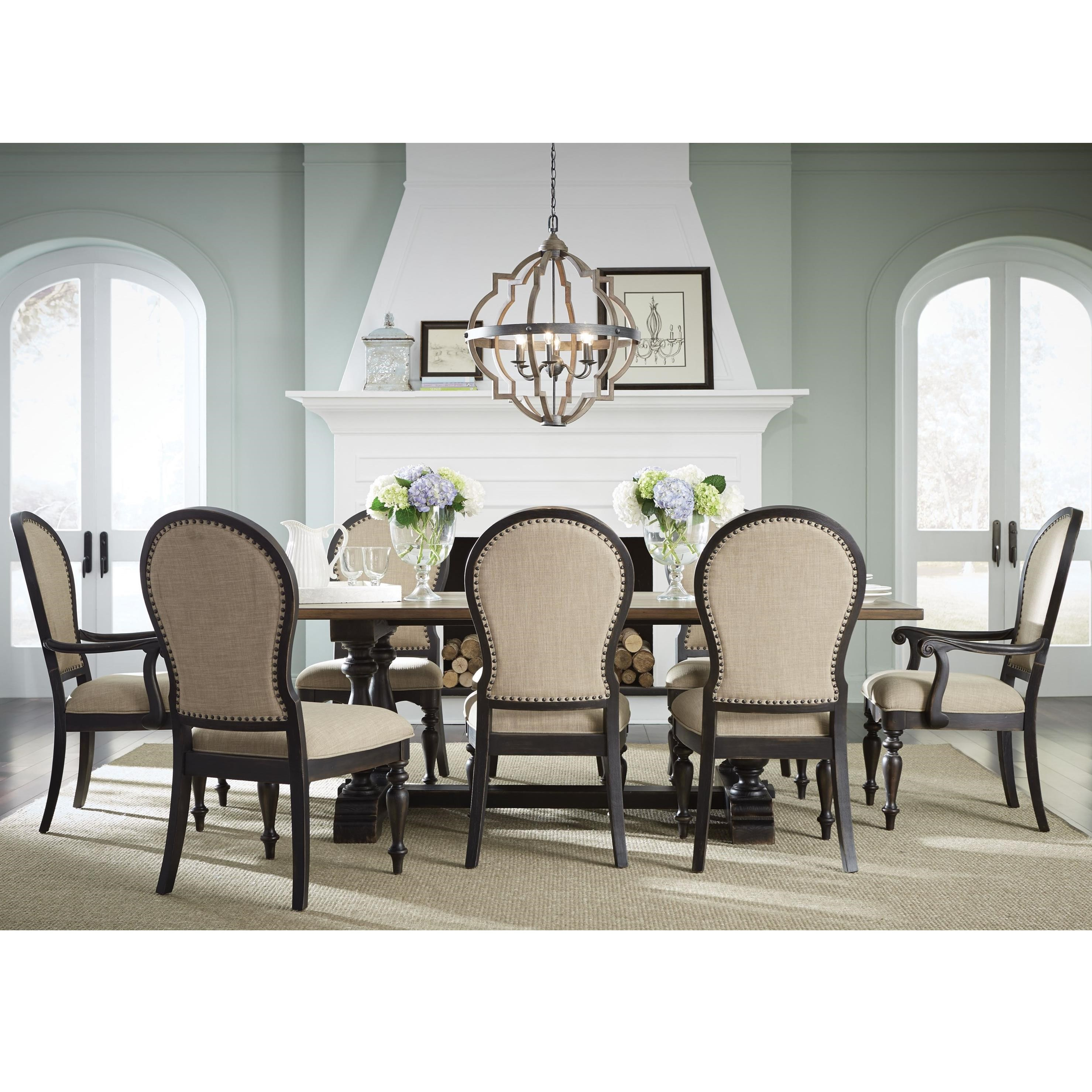 Standard furniture cambria trestle table and upholstered for Standard dining table