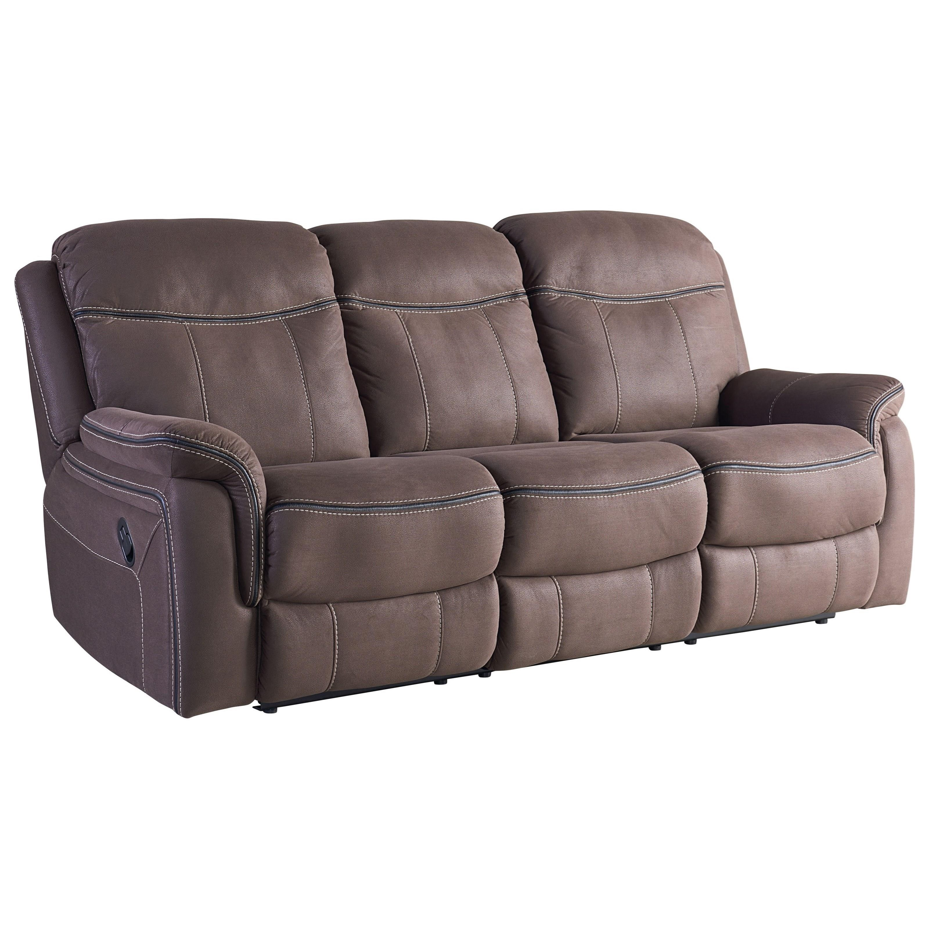 Standard furniture champion taupe faux leather reclining for Sofa exterior reclinable