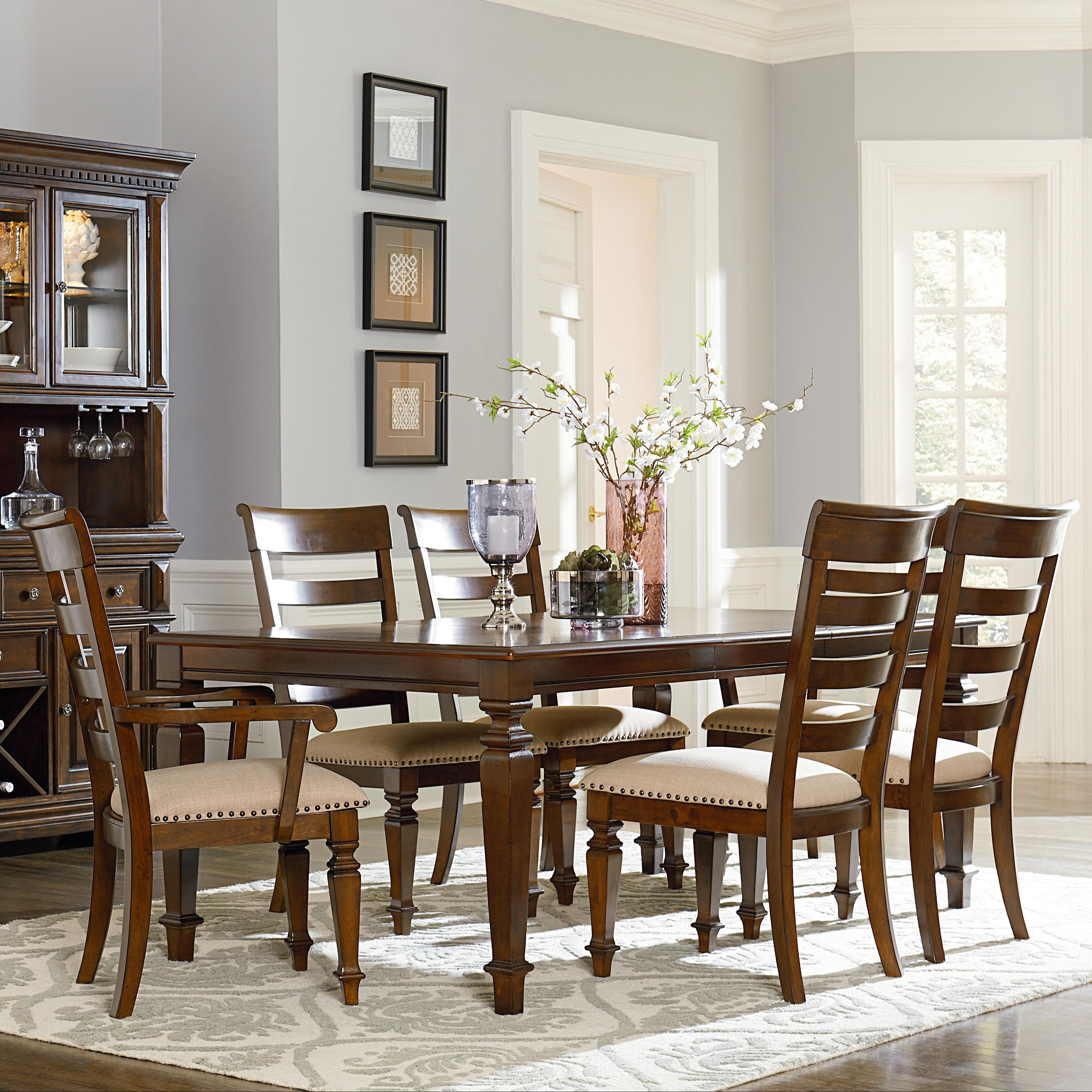 Standard furniture charleston traditional seven piece leg for Standard dining table