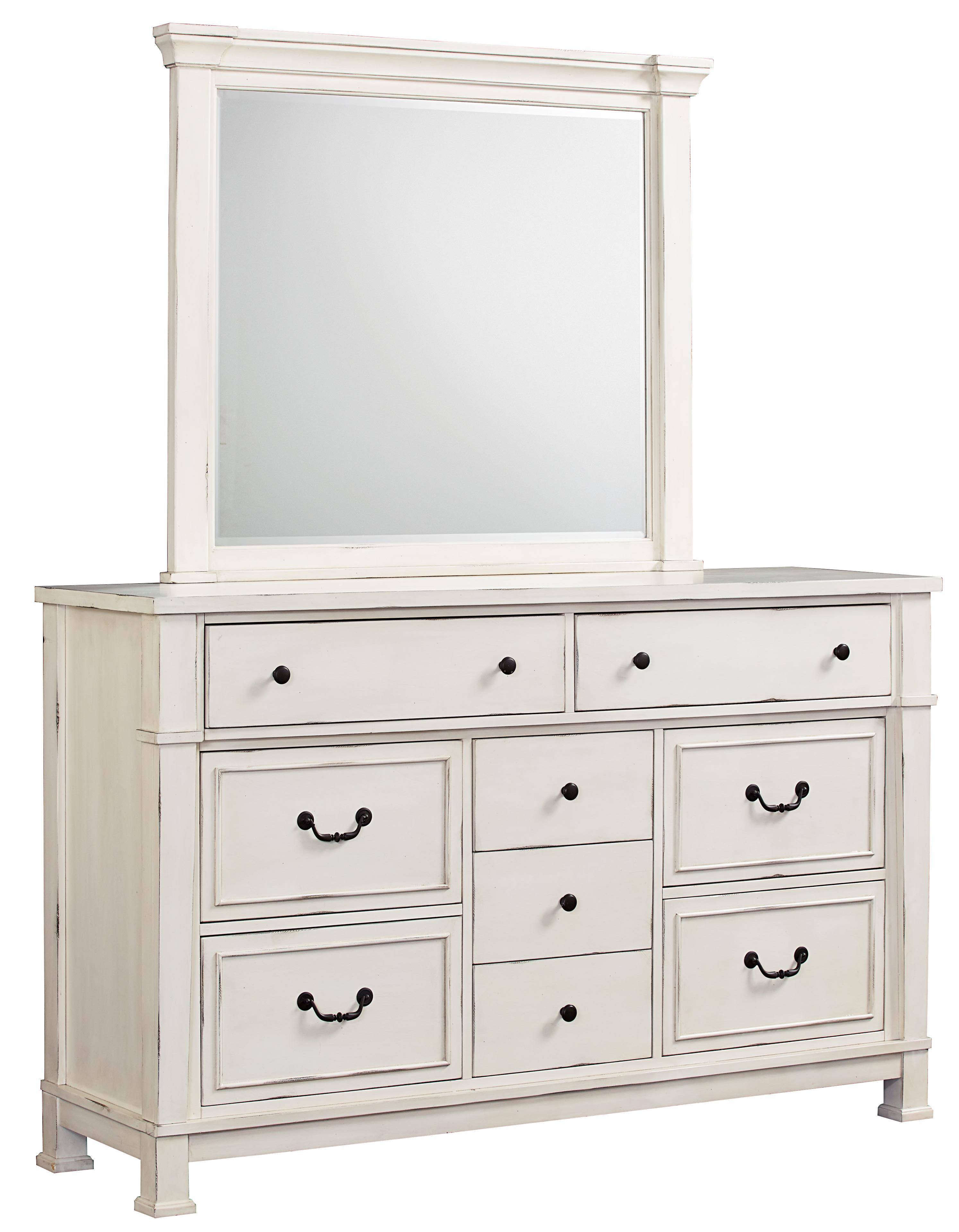 standard furniture chesapeake bay vintage white dresser and mirror set dunk bright furniture. Black Bedroom Furniture Sets. Home Design Ideas