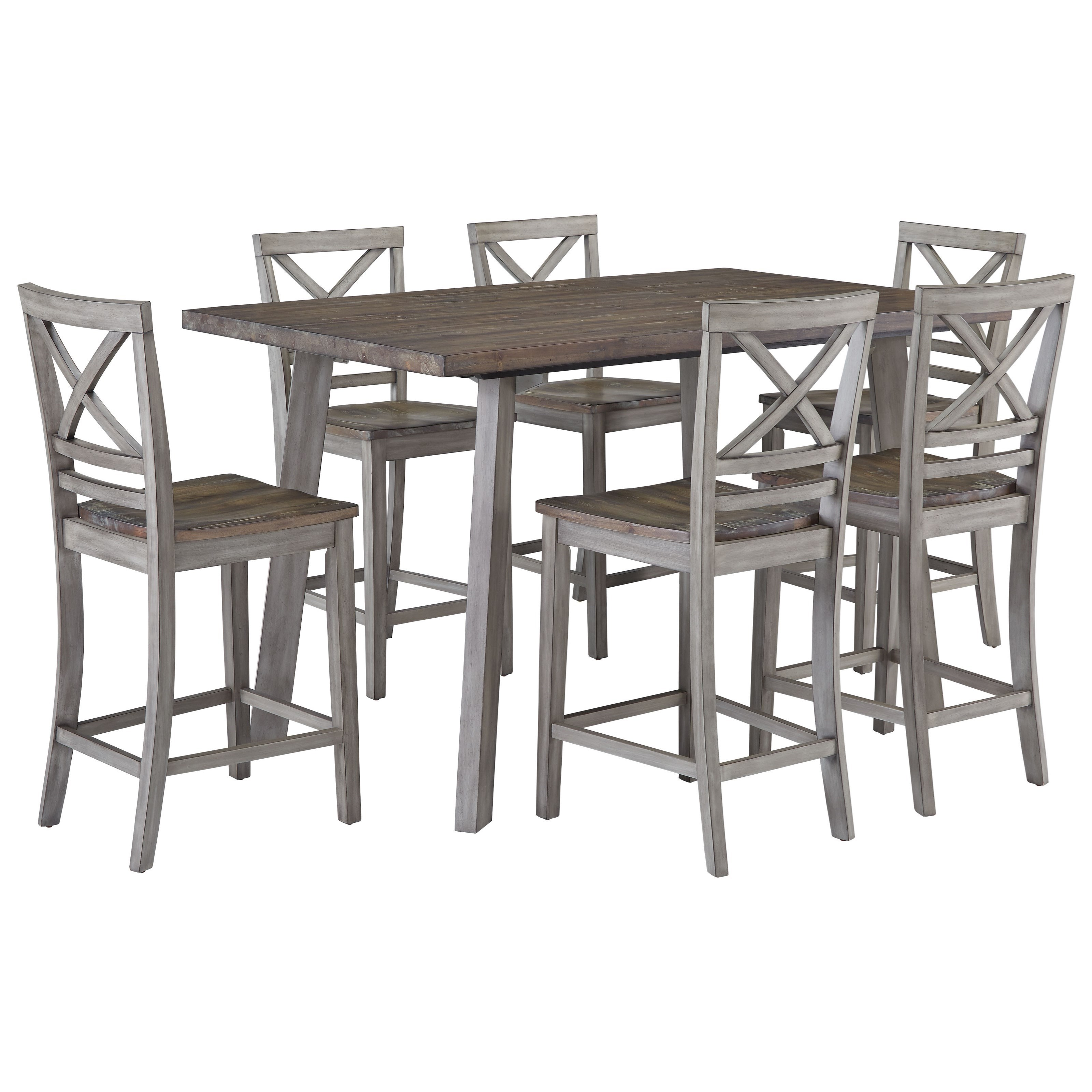 Standard furniture fairhaven rustic table set with six for Table 6 kitchen and bar canton ohio