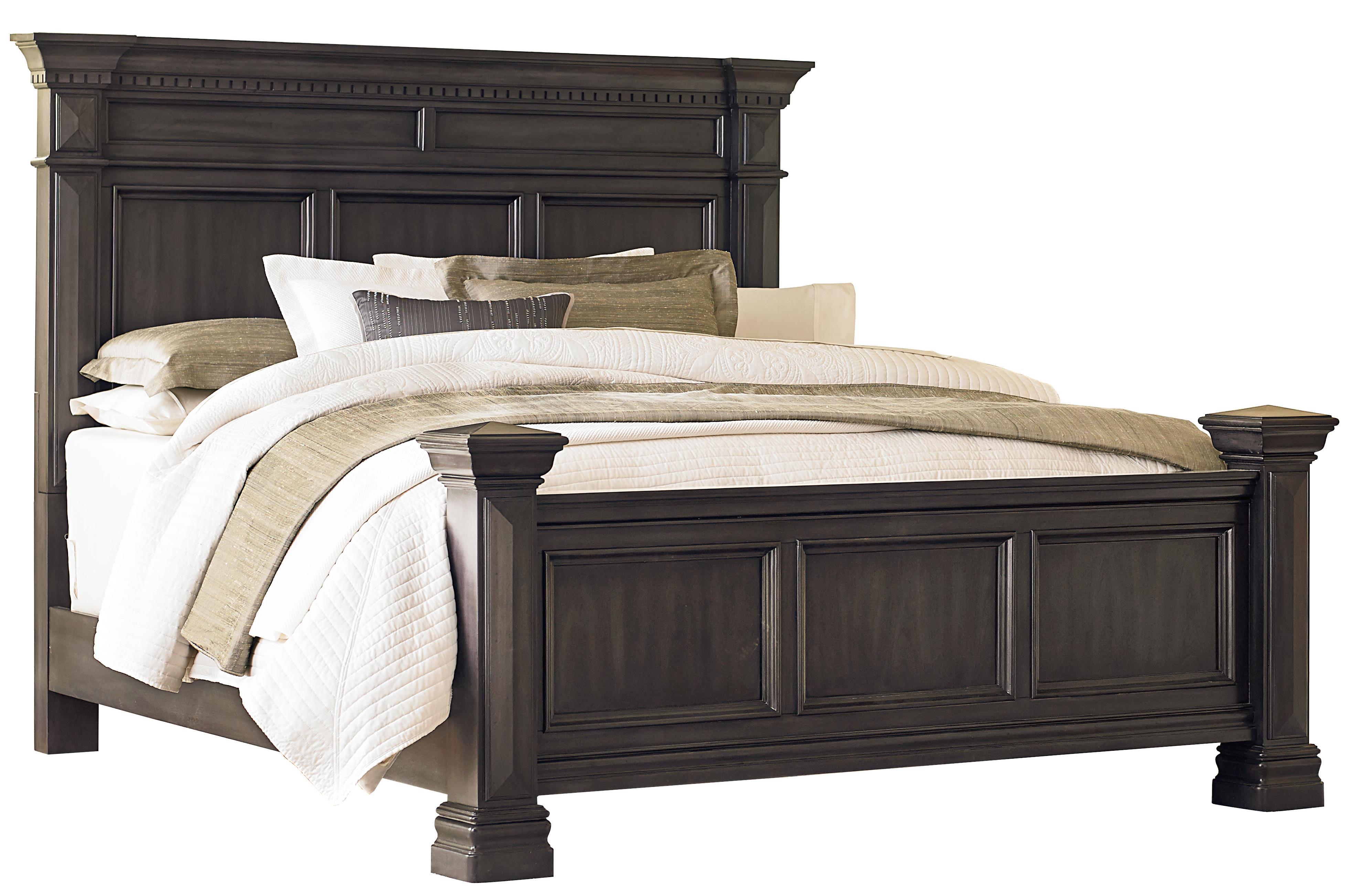 standard furniture garrison king panel bed with smooth grey finish olinde 39 s furniture panel beds. Black Bedroom Furniture Sets. Home Design Ideas