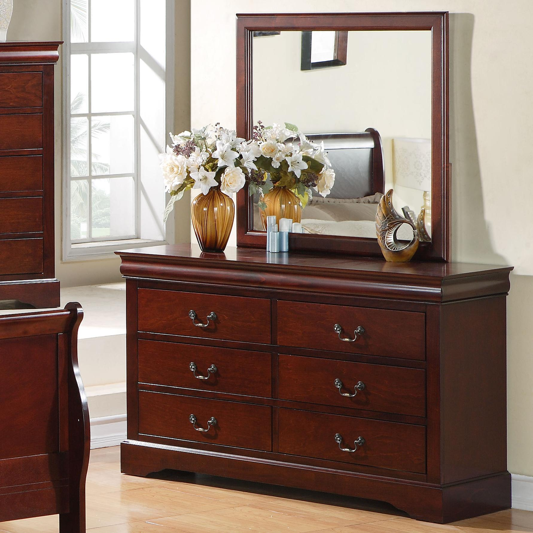 Standard Furniture Lewiston 6 Drawer Dresser with Mirror