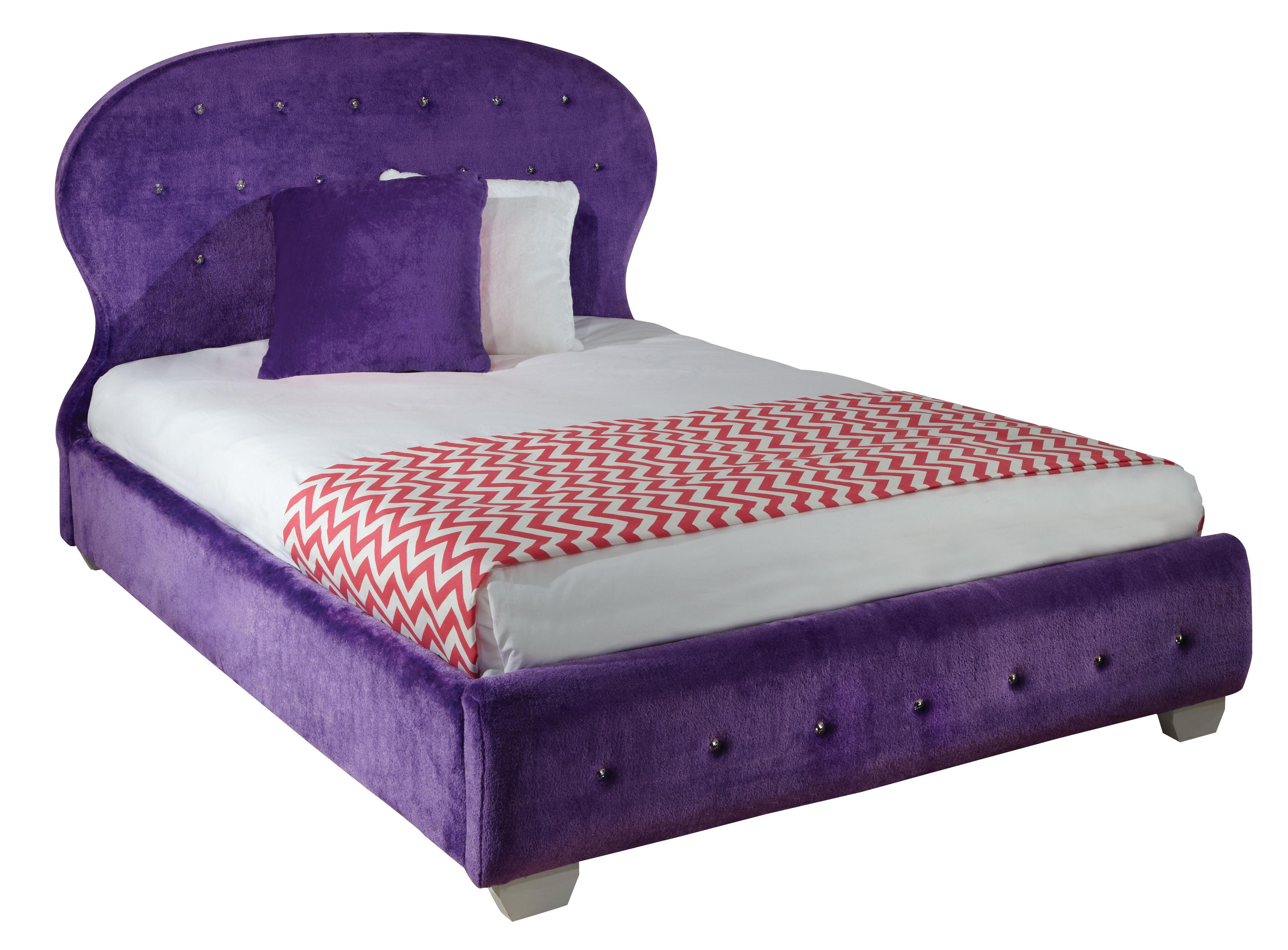 Standard furniture marilyn full faux fur bed with balloon for Upholstered bed and mattress