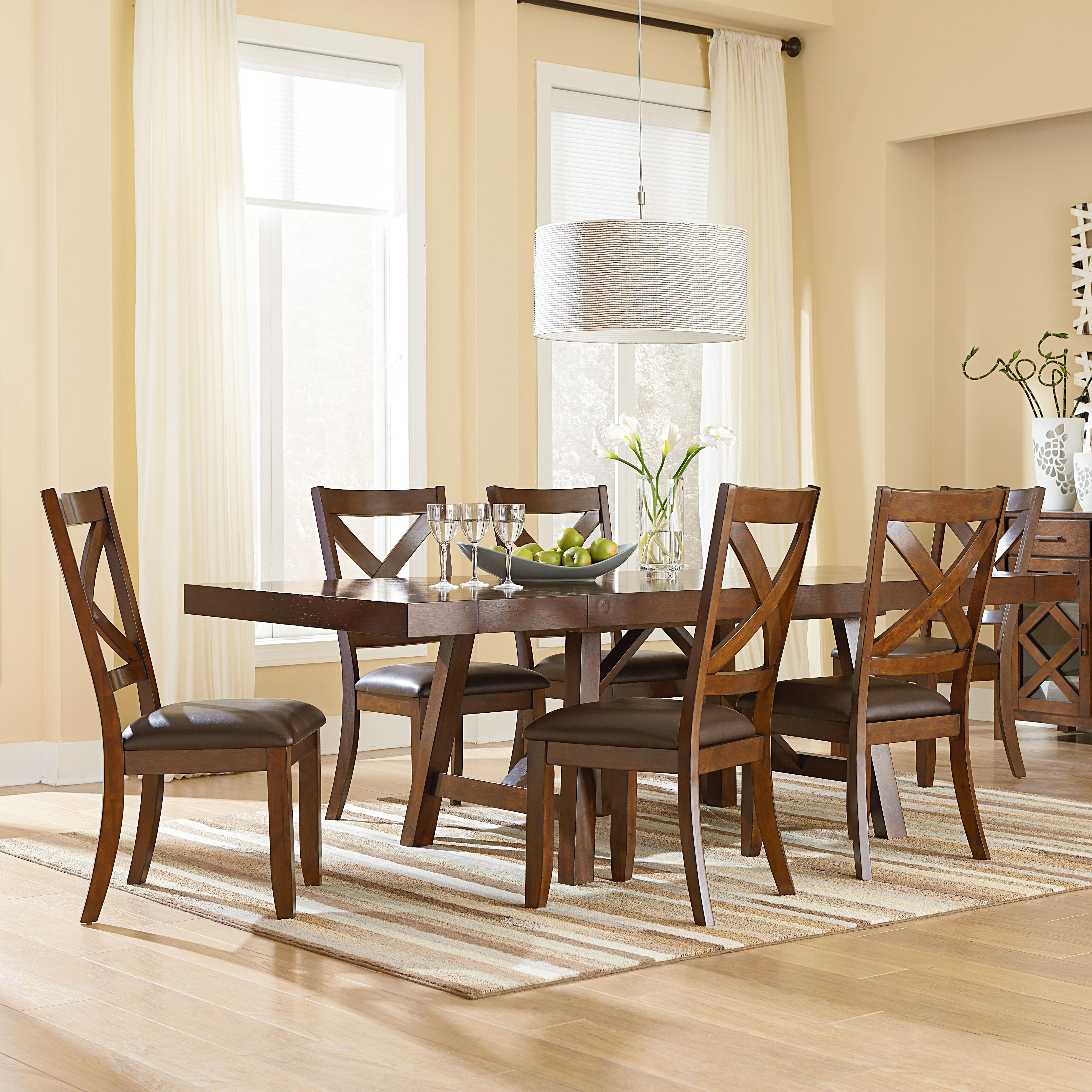 Standard furniture omaha brown 7 piece table and chair set for Dining room tables jacksonville nc